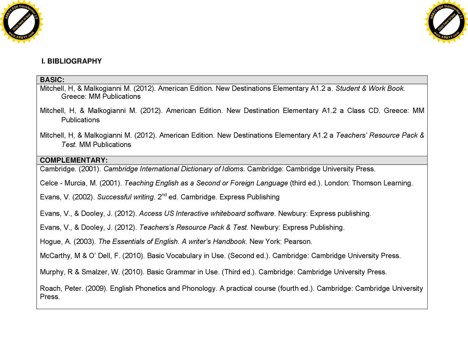 Calamo Third Task Bibliography