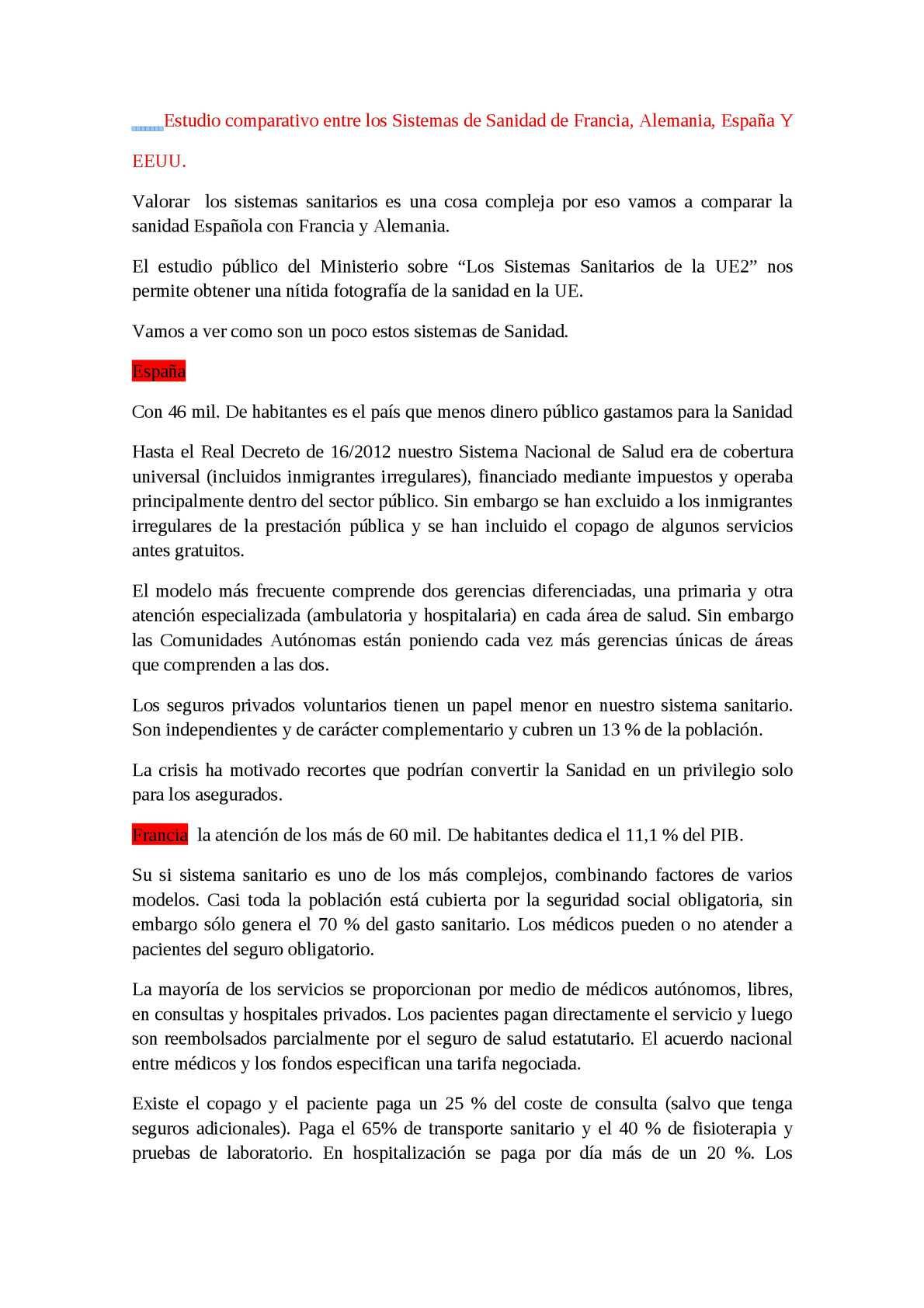 Calaméo - Estudio Comparativo Entre Los Sistemas De Sanidad De Francia