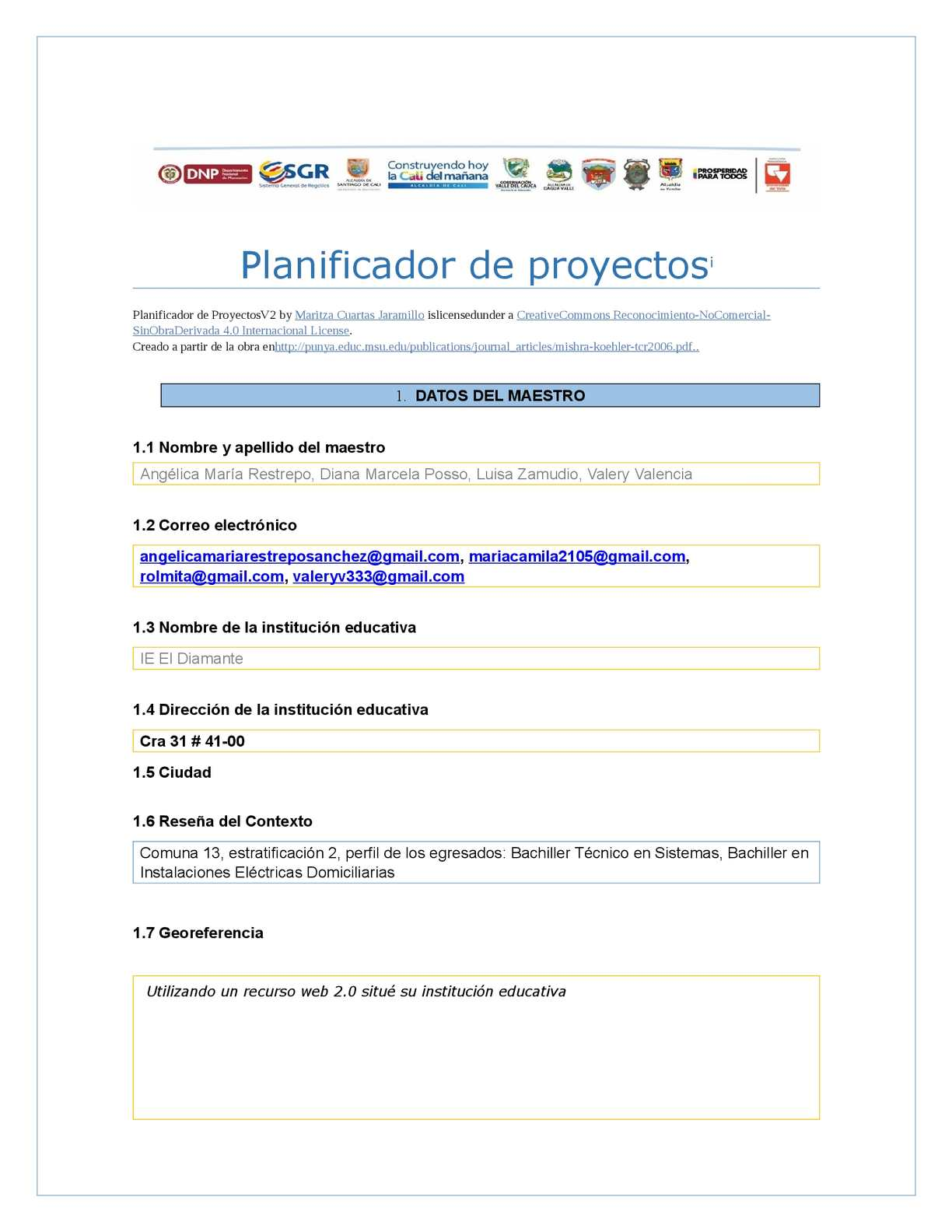 Calaméo - Planificador De Proyectos Plantilla