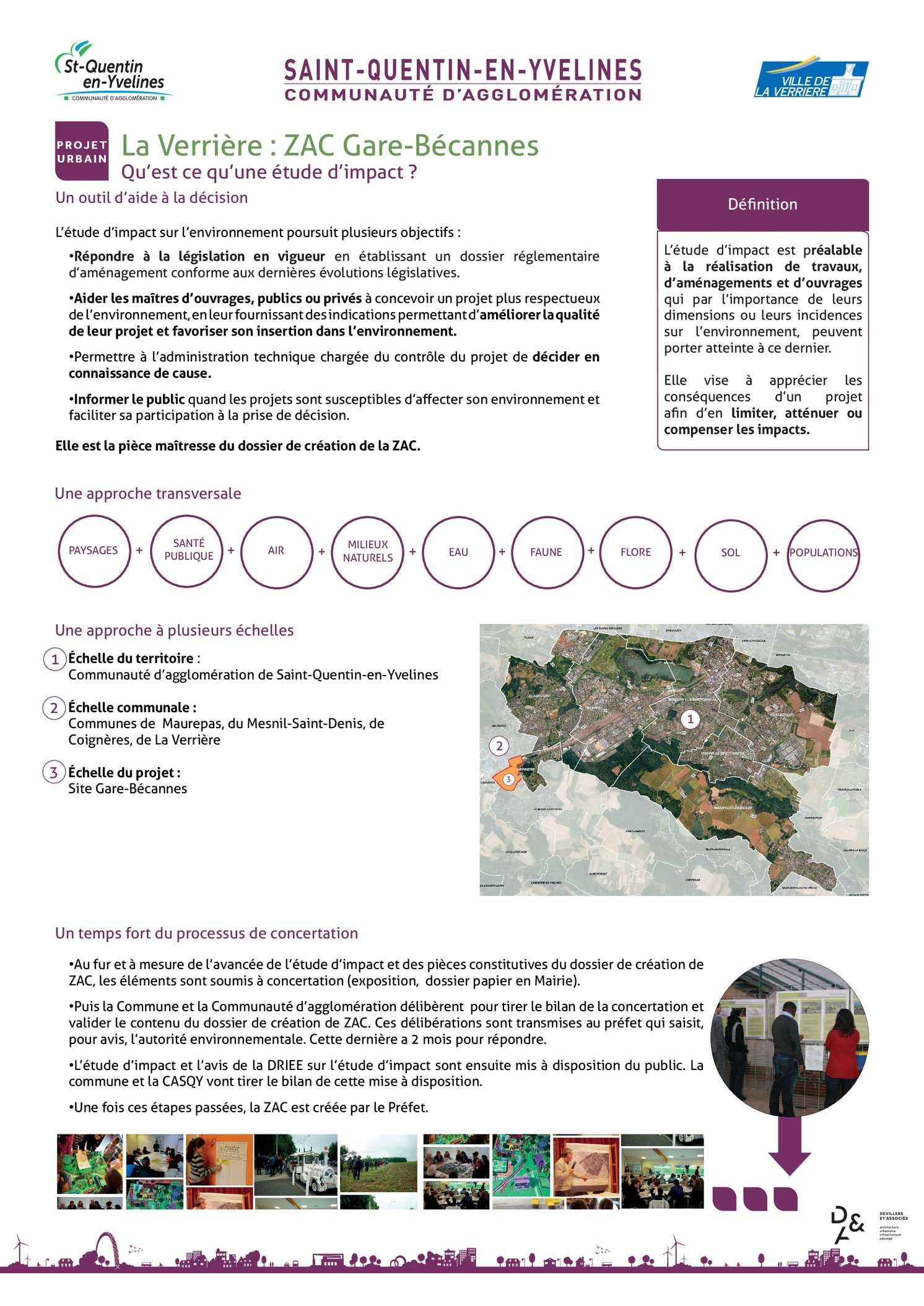 Panneaux d'exposition de l'étude d'impact du projet La Verrière - ZAC Gare-Bécannes