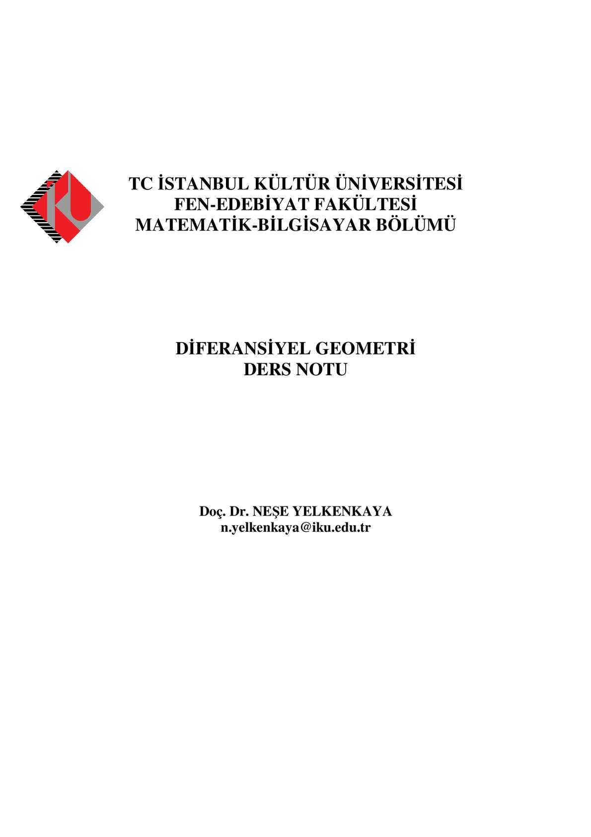 Diferansiyel Geometri (Doç.Dr. Neşe Yelkenkaya) - İKÜ