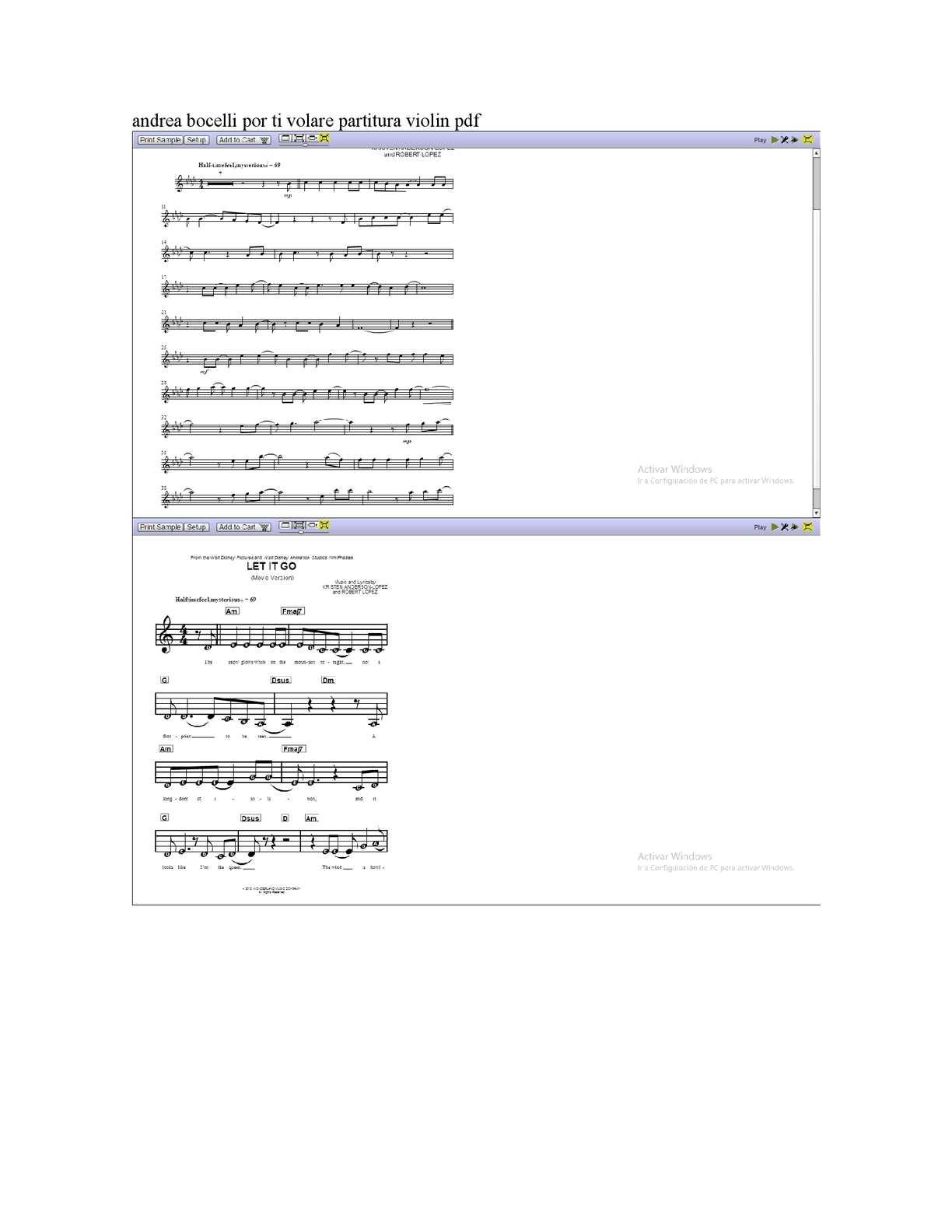 Calam o andrea bocelli por ti volare partitura violin pdf for Porte volare