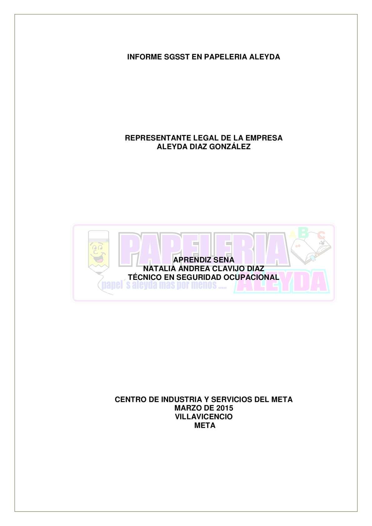 Calaméo - Anexo 5 Informe Sgsst En Papeleria Aleyda