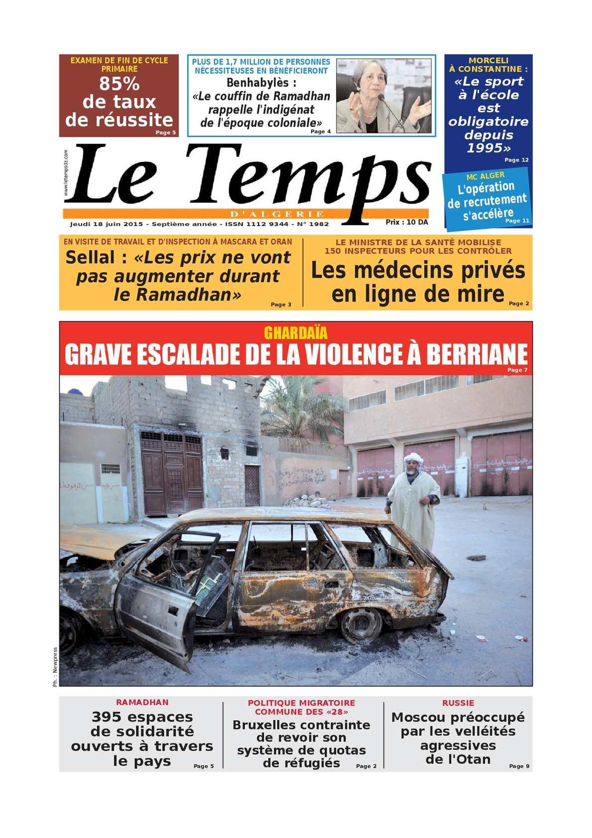 Calam o le temps d 39 alg rie edition du jeudi 18 juin 2015 for Le divan 9 juin 2015