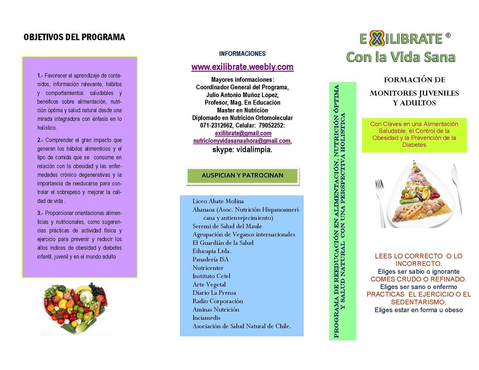 Calaméo - Triptico De Programa De Reeducación Alimentación