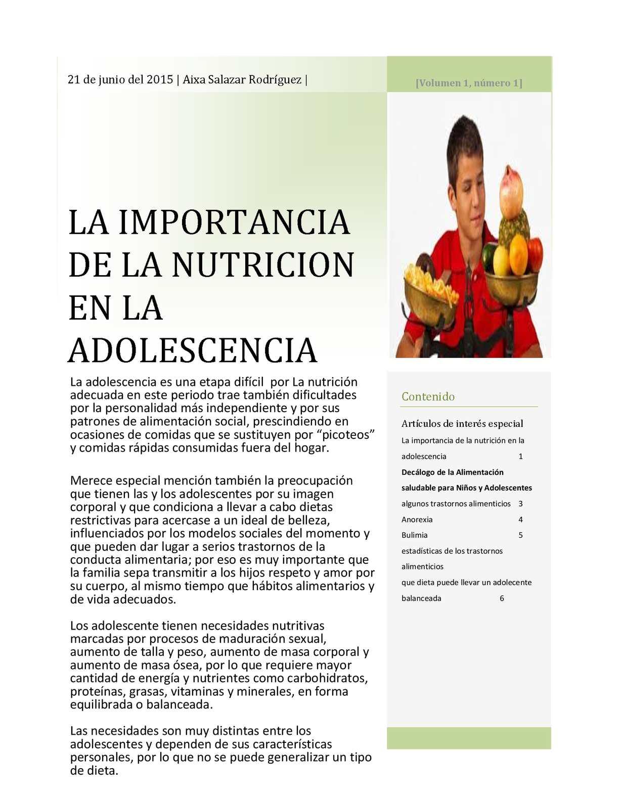 Calam o la importancia de la nutricion en la adolescencia for Que es un articulo cultural o de espectaculos
