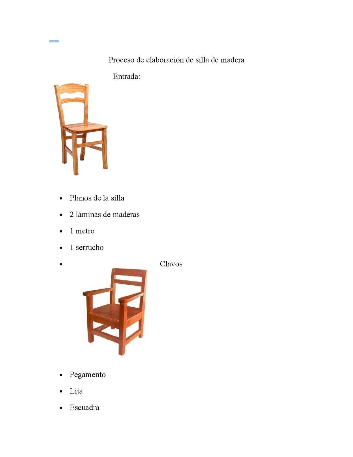 Calam o proceso de elaboraci n de silla de madera - Materiales para tapizar una silla ...