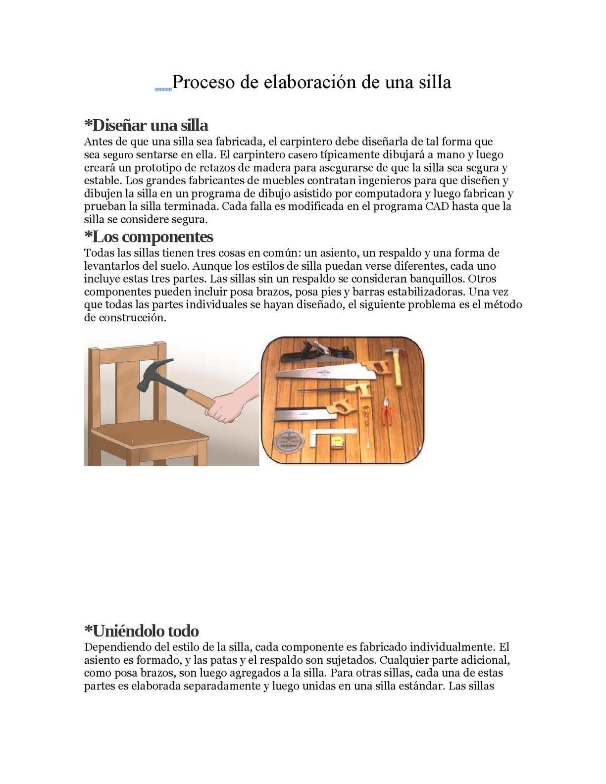 Calam o proceso de elaboraci n de una silla for Programa para disenar muebles de madera