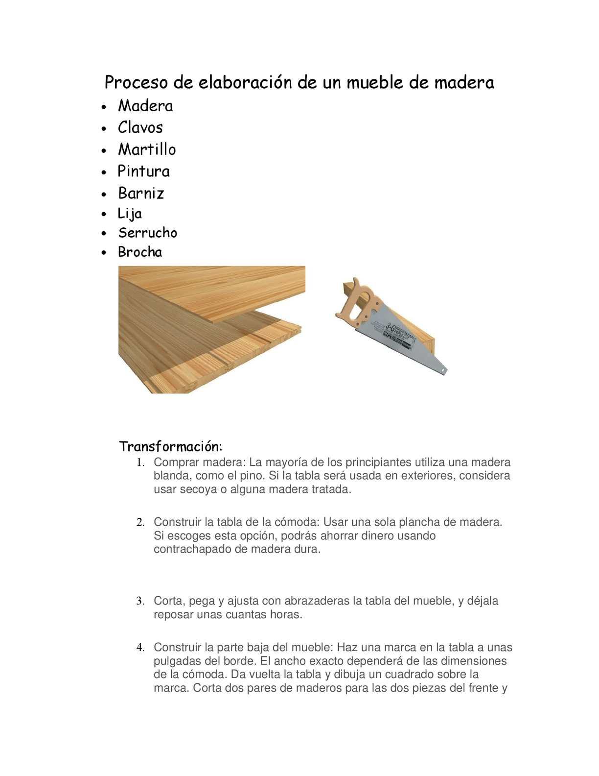 Calam o proceso de elaboraci n de un mueble de madera - Como se elabora una silla de madera ...
