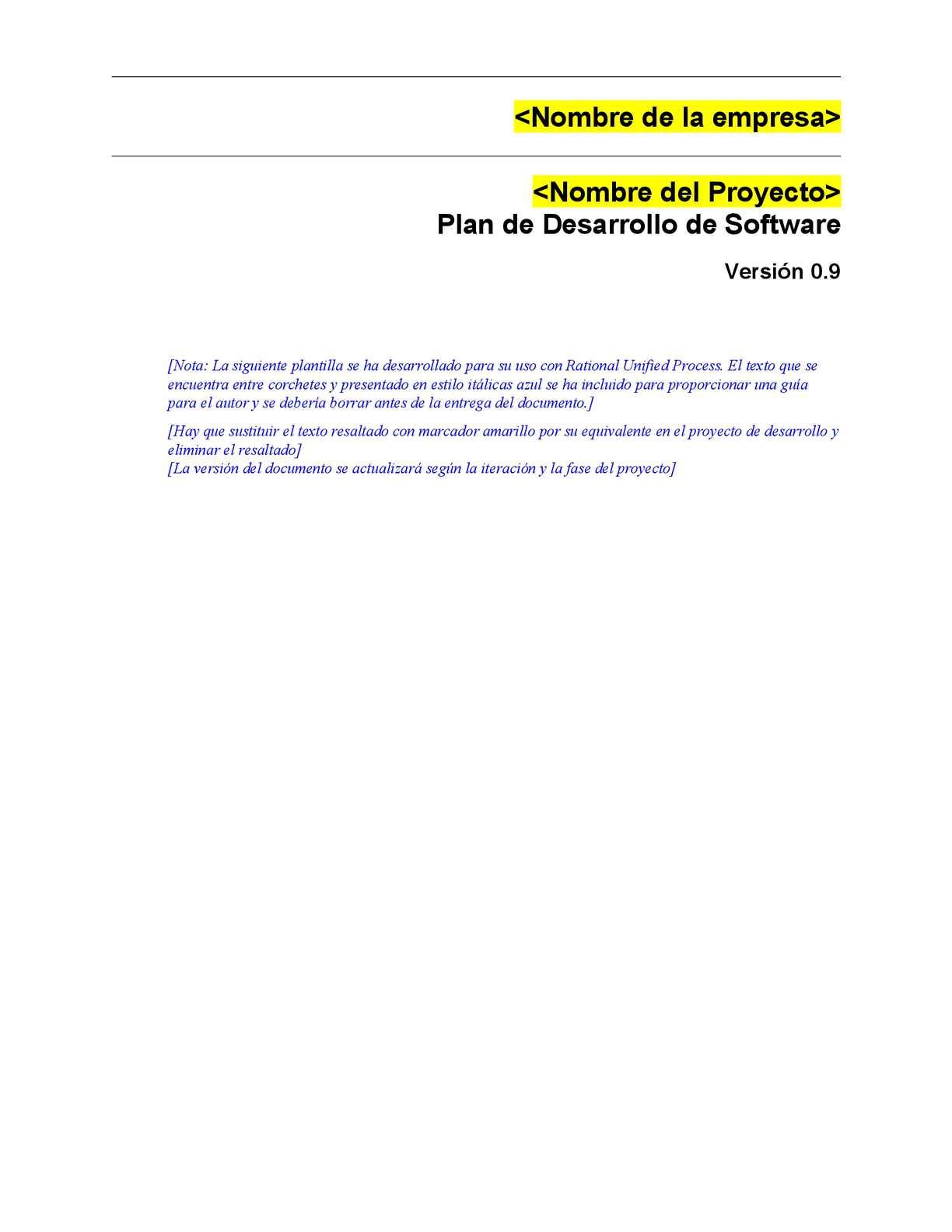 Calaméo - 1 Plantilla Plan Desarrollo Software