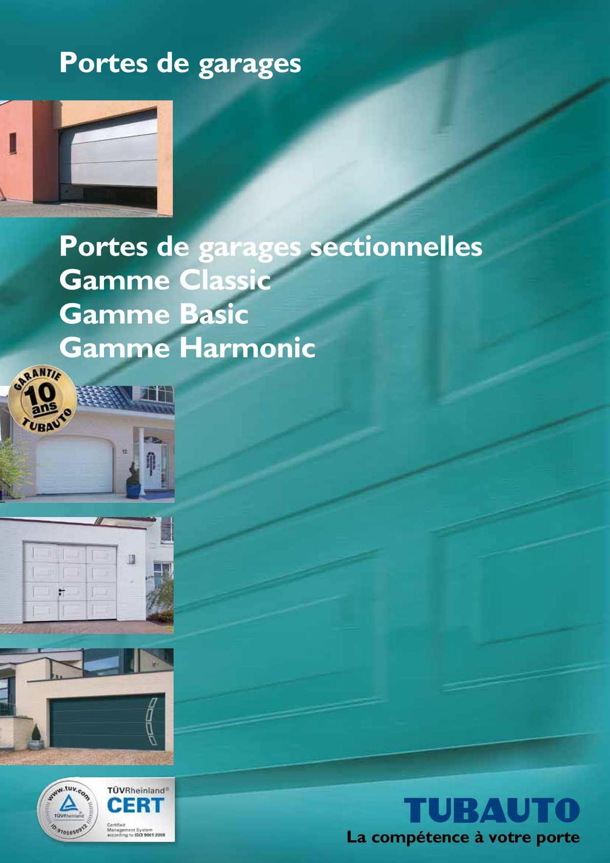 Calam o catalogue tubauto portes de garages sectionnelles for Programmation porte de garage tubauto