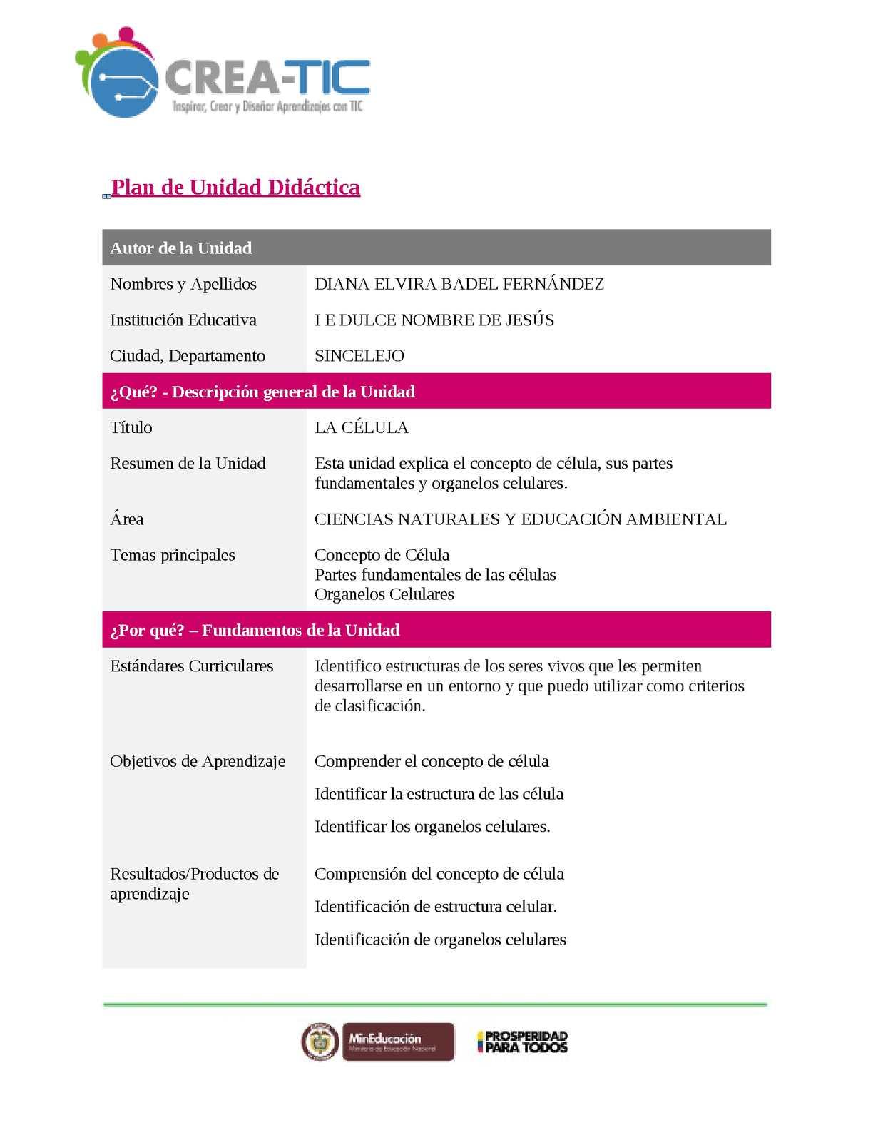 Calaméo - Plantilla Unidad Didactica Final Diana Badel