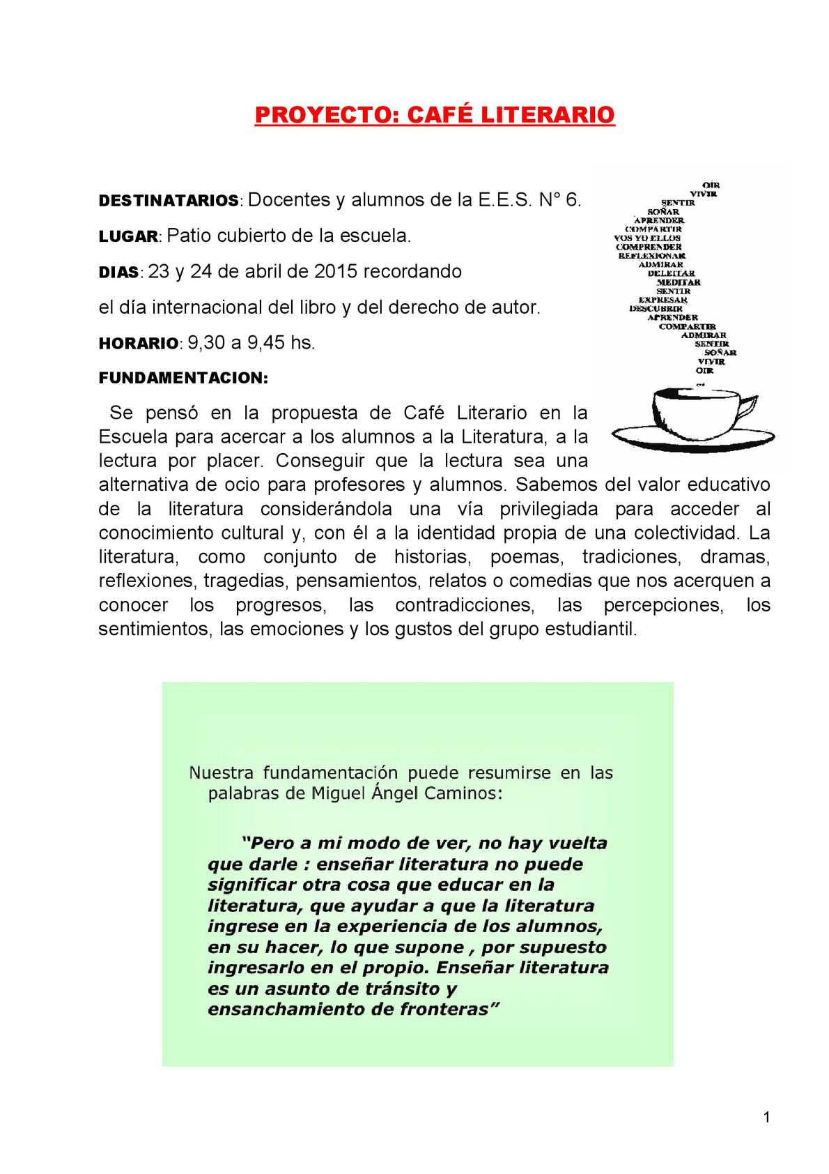 Calam O Proyecto Caf Literario