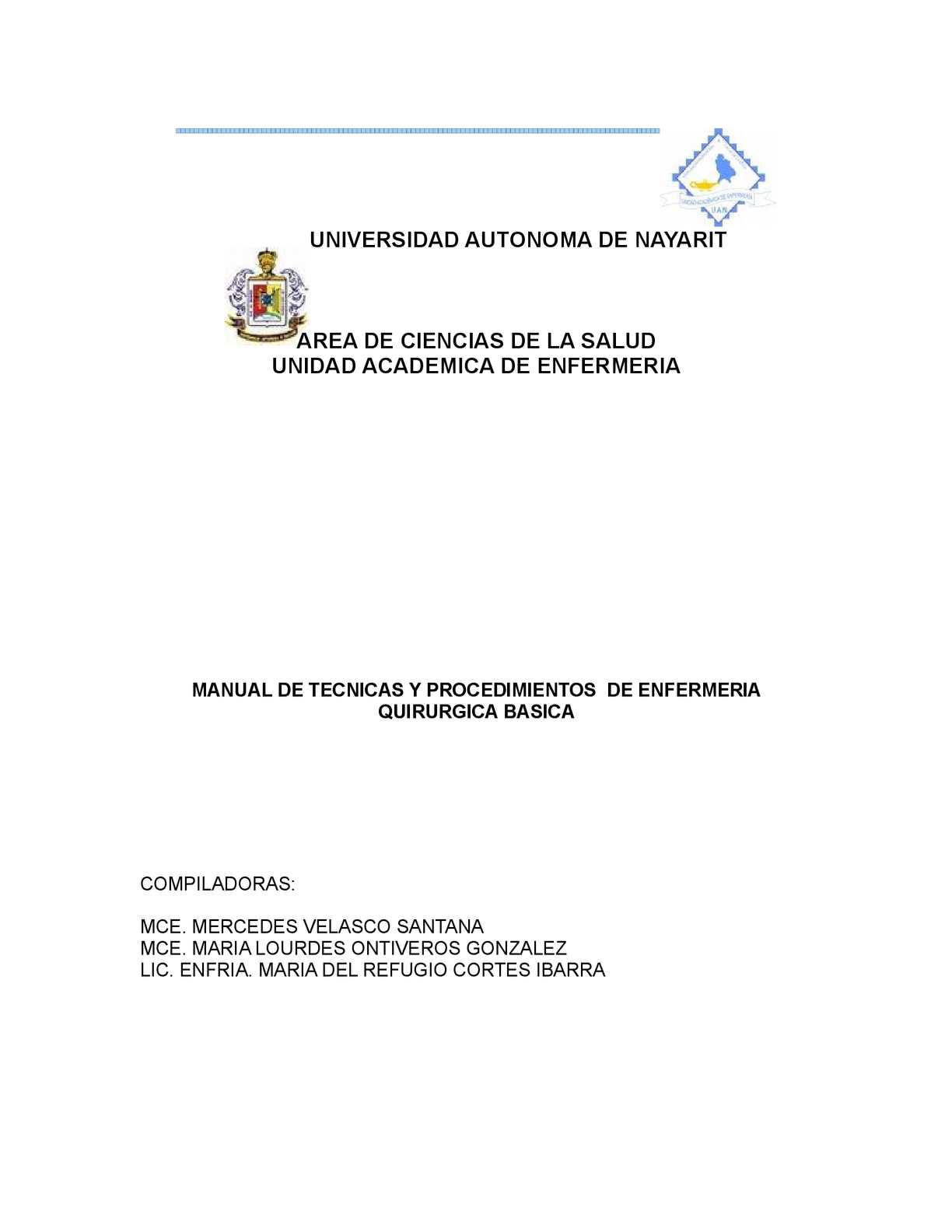Circuito Quirurgico : Calaméo manual de tecnicas y procedimientos de enfermeria