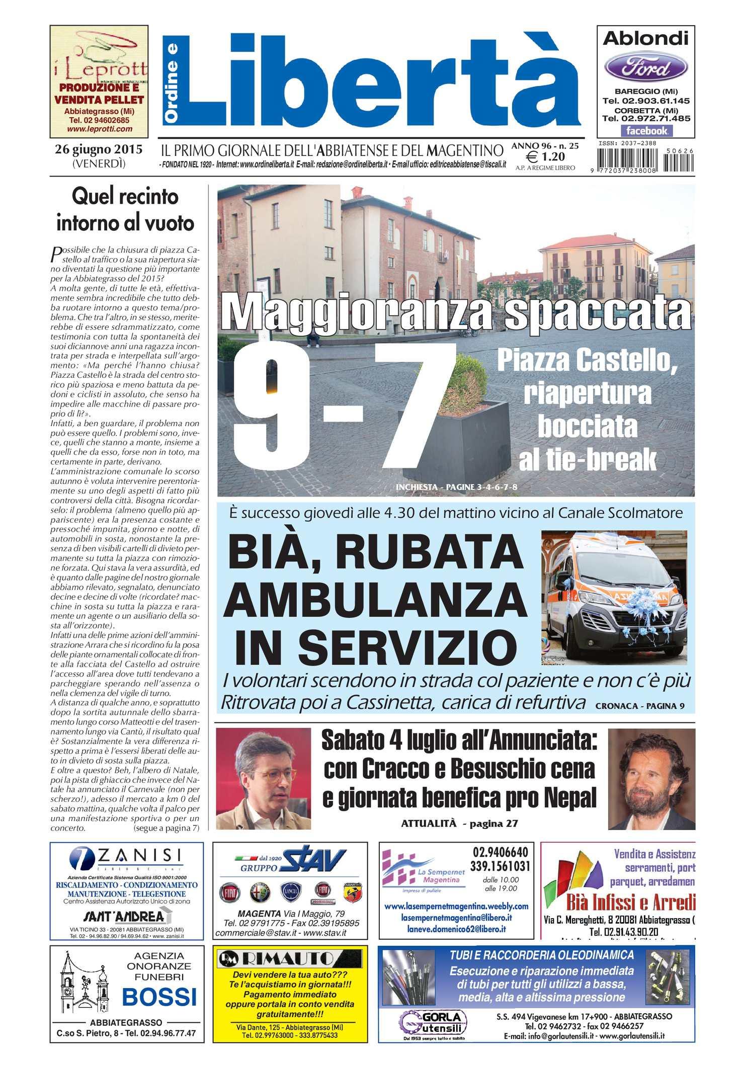 Calam o 26 giugno 2015 for Ad giornale di arredamento