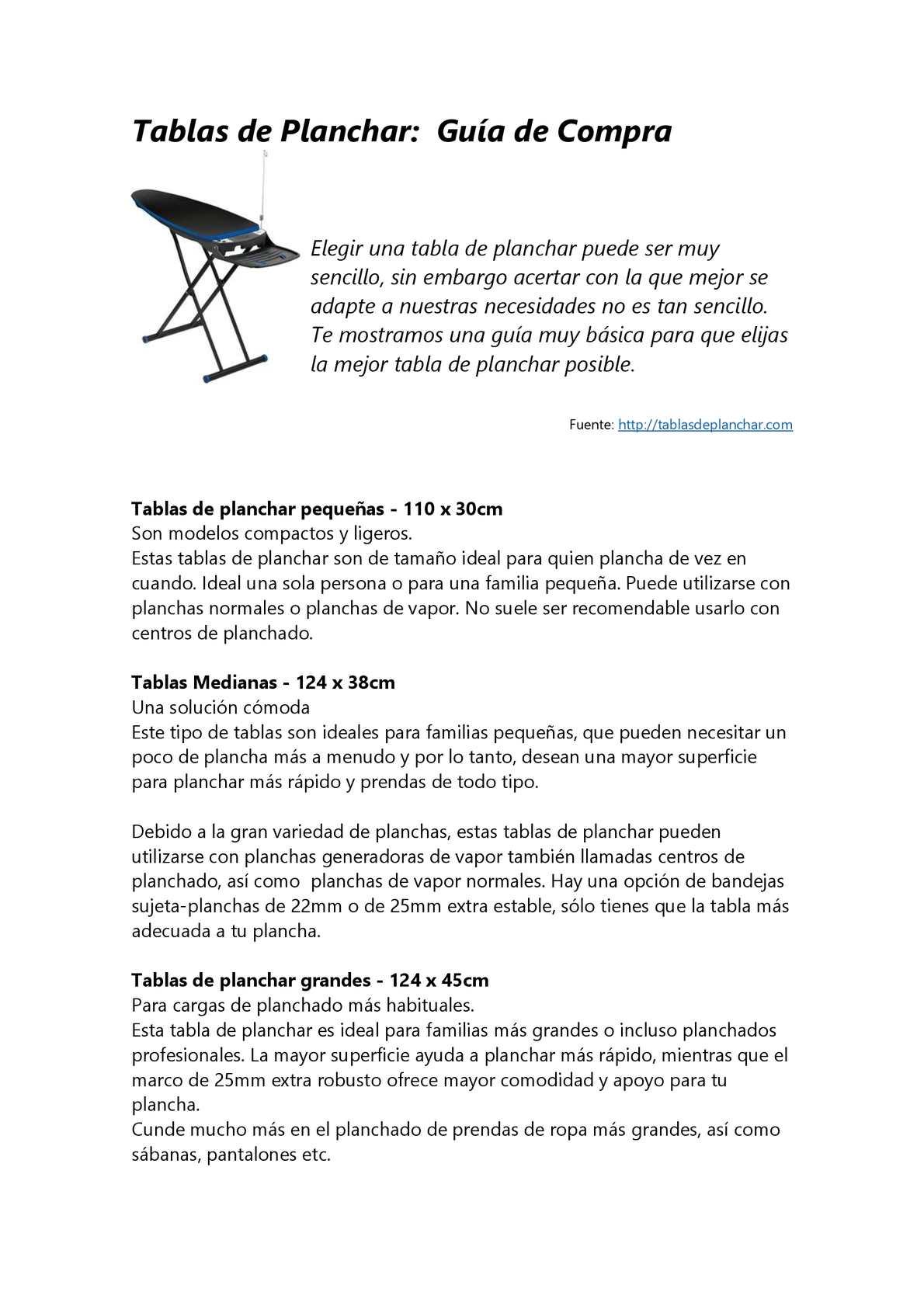 Calaméo - Tablas de Planchar: consejos indispensables