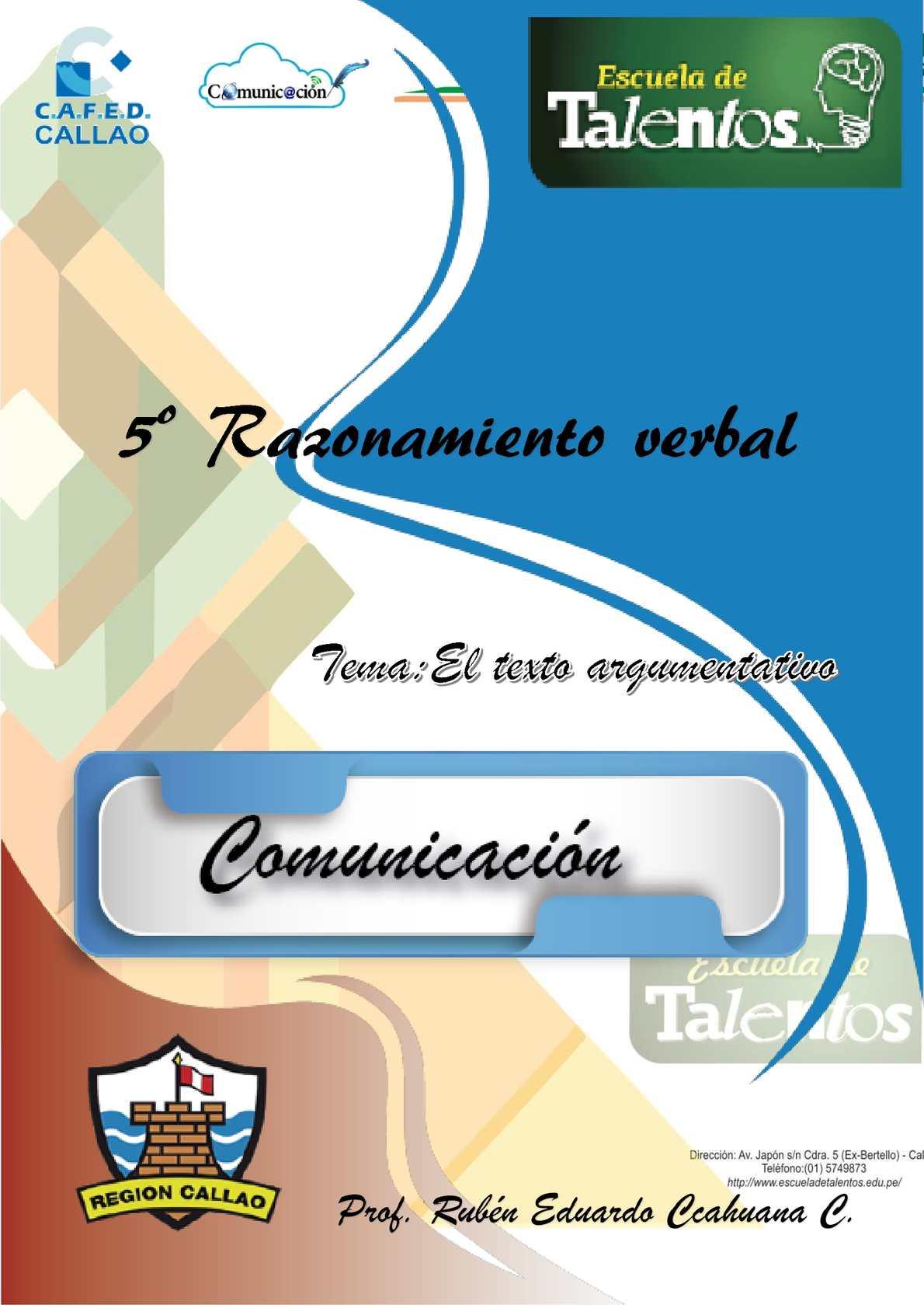 5º Unidad Iv Sesion I El Texto Argumentativo