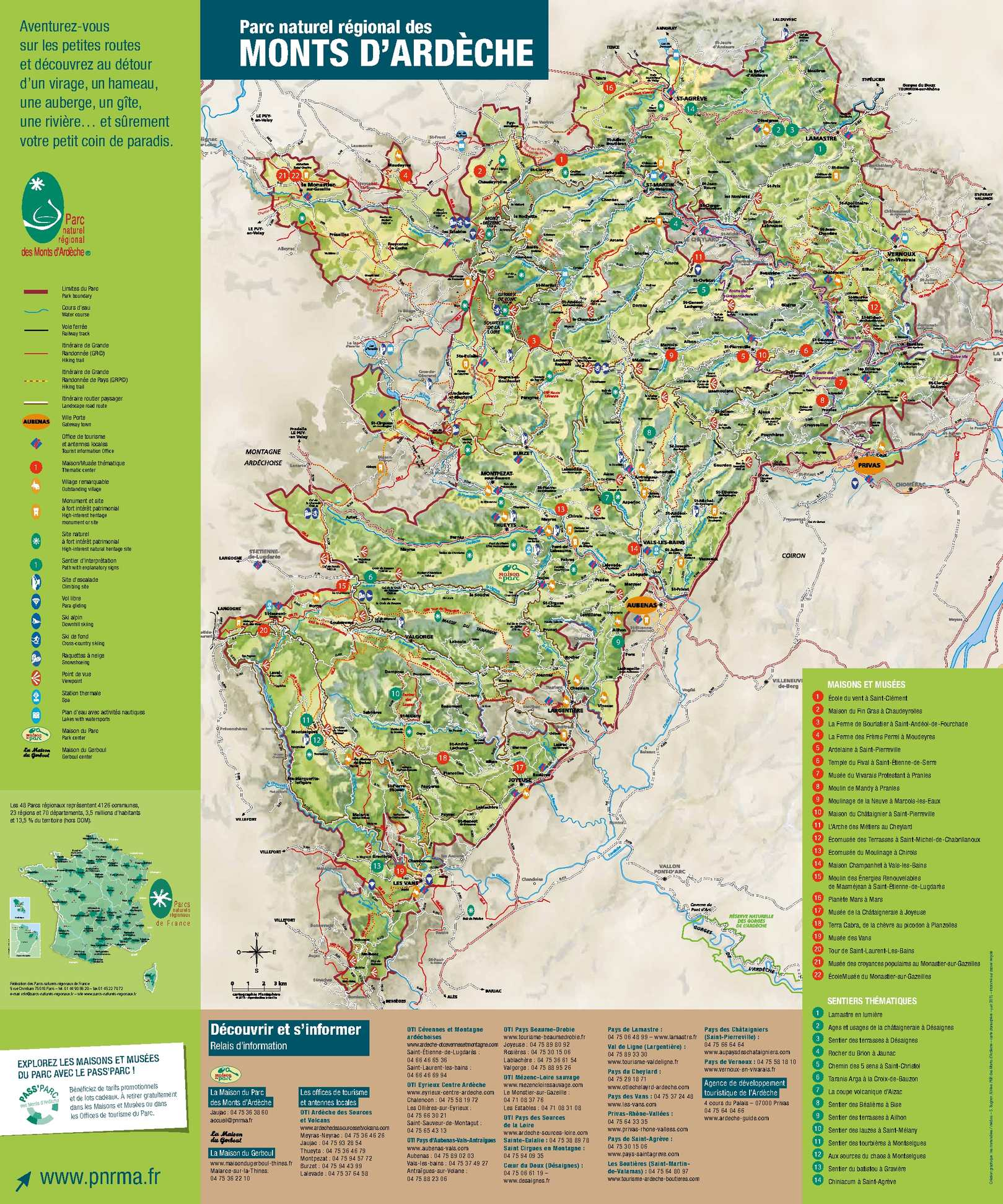 Calam o carte touristique des monts d 39 ard che 2015 - Office du tourisme ardeche nord ...