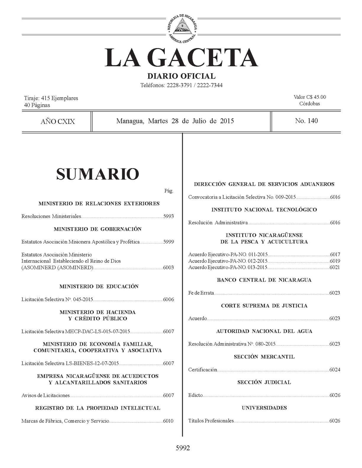 Calaméo - Gaceta No 140 Martes 28 De Julio 2015