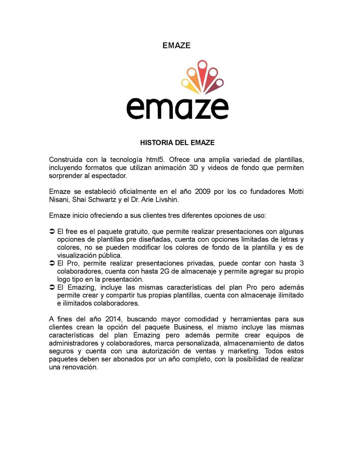 HISTORIA Y REGISTRO DEL EMAZE