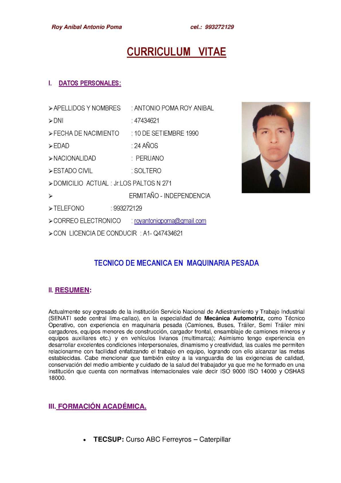 Calaméo - Cv Roy Antonio Poma 1