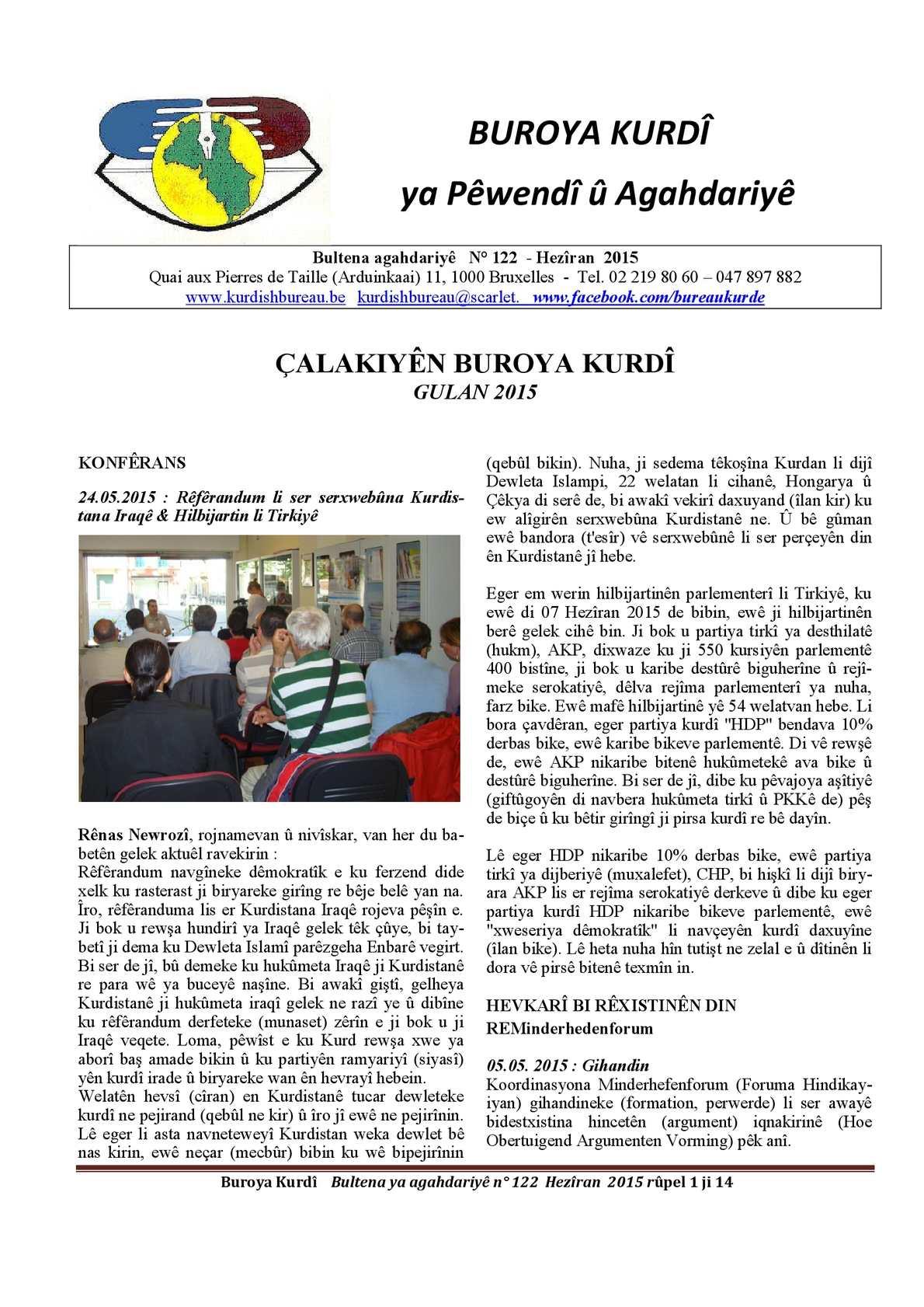 BUROYA KURDÎ  ya Pêwendî  û Agahdariyê 122 06/2015