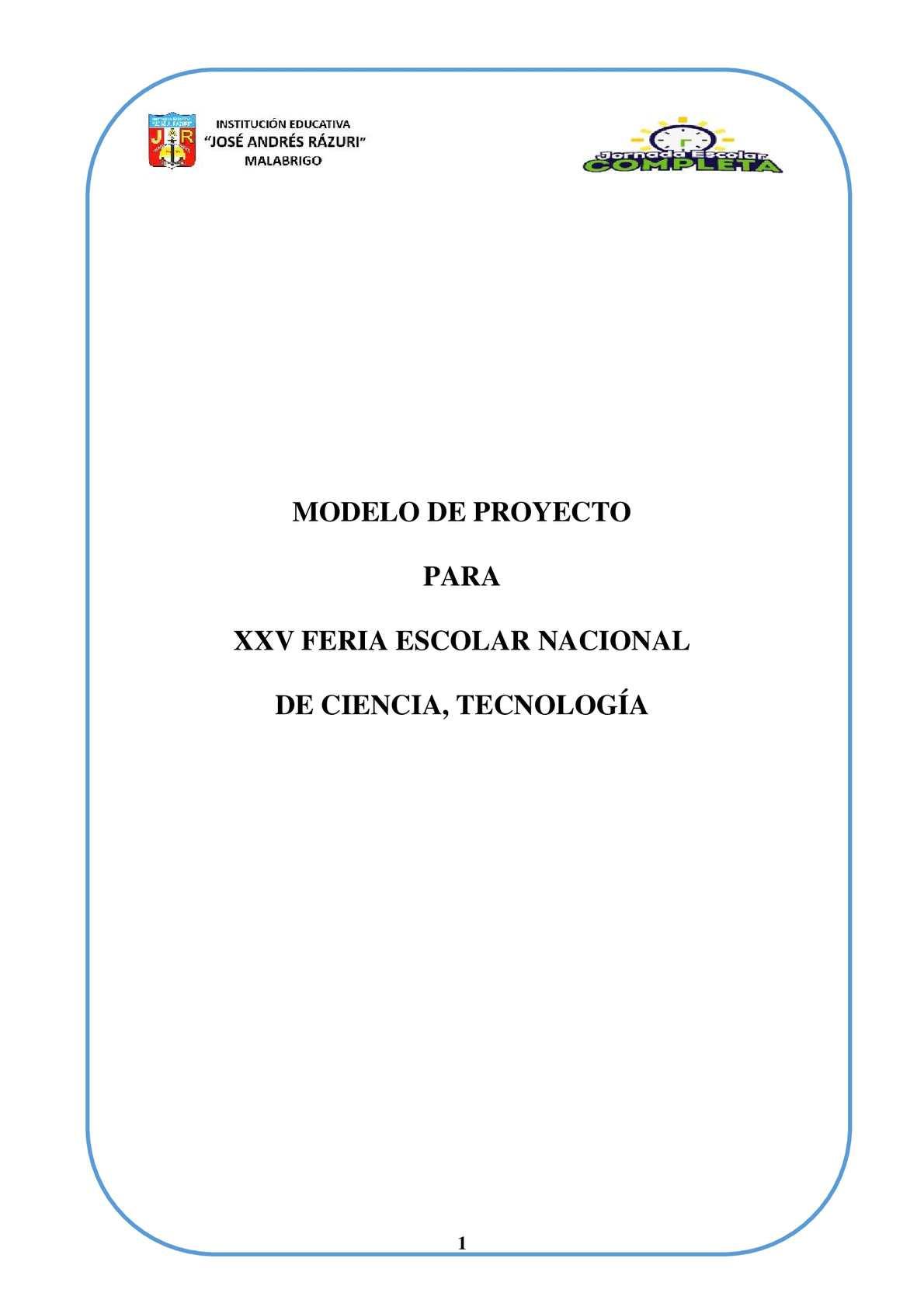 MODELO DE PROYECTO EUREKA 2015
