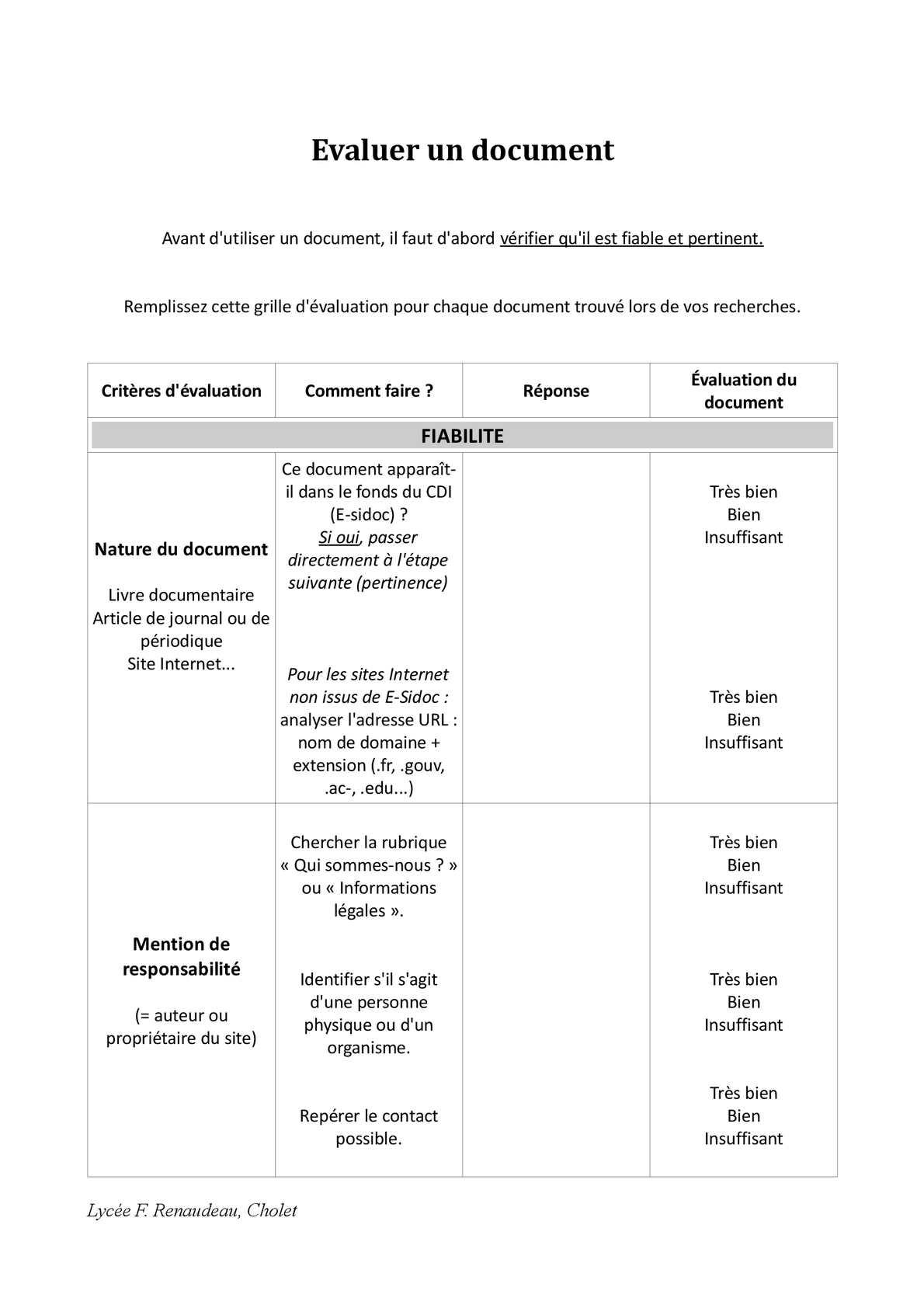 Calam o grille valution document fiabilit et pertinence - Comment faire une grille d evaluation ...