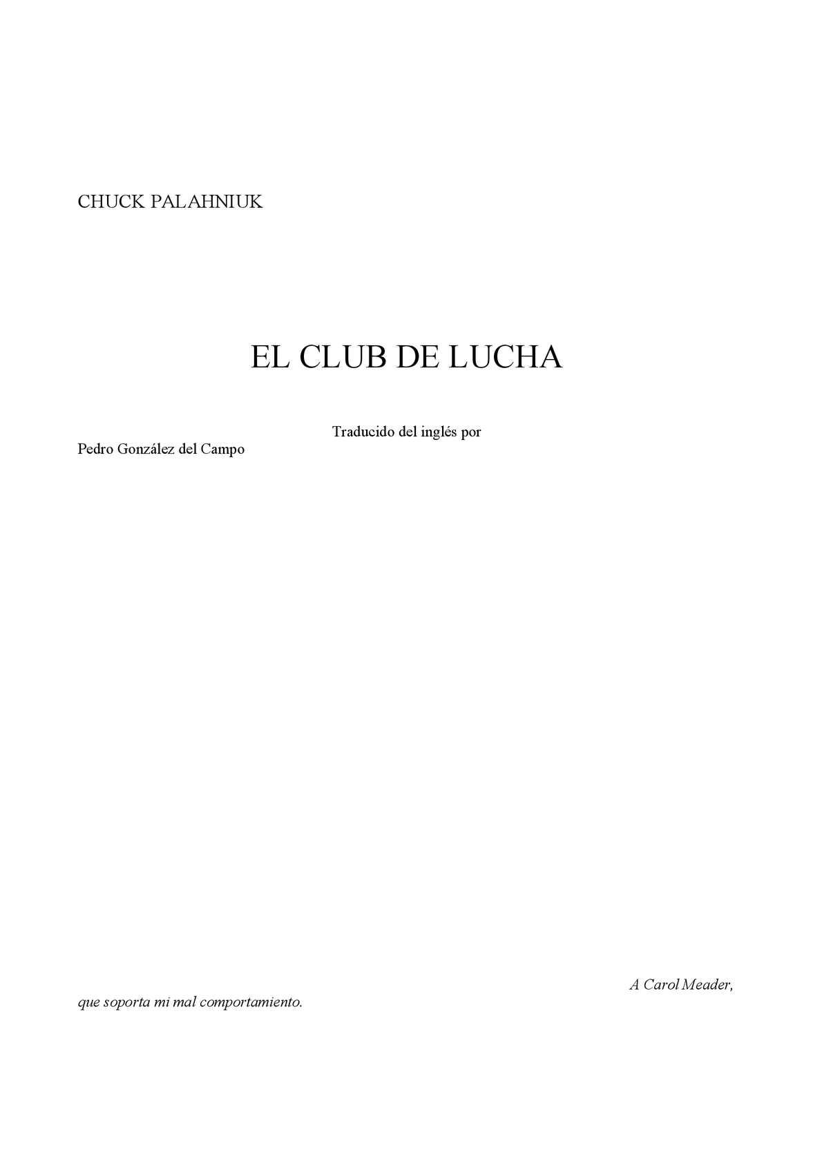 Calaméo - Palahniuk Chuck El Club De La Lucha