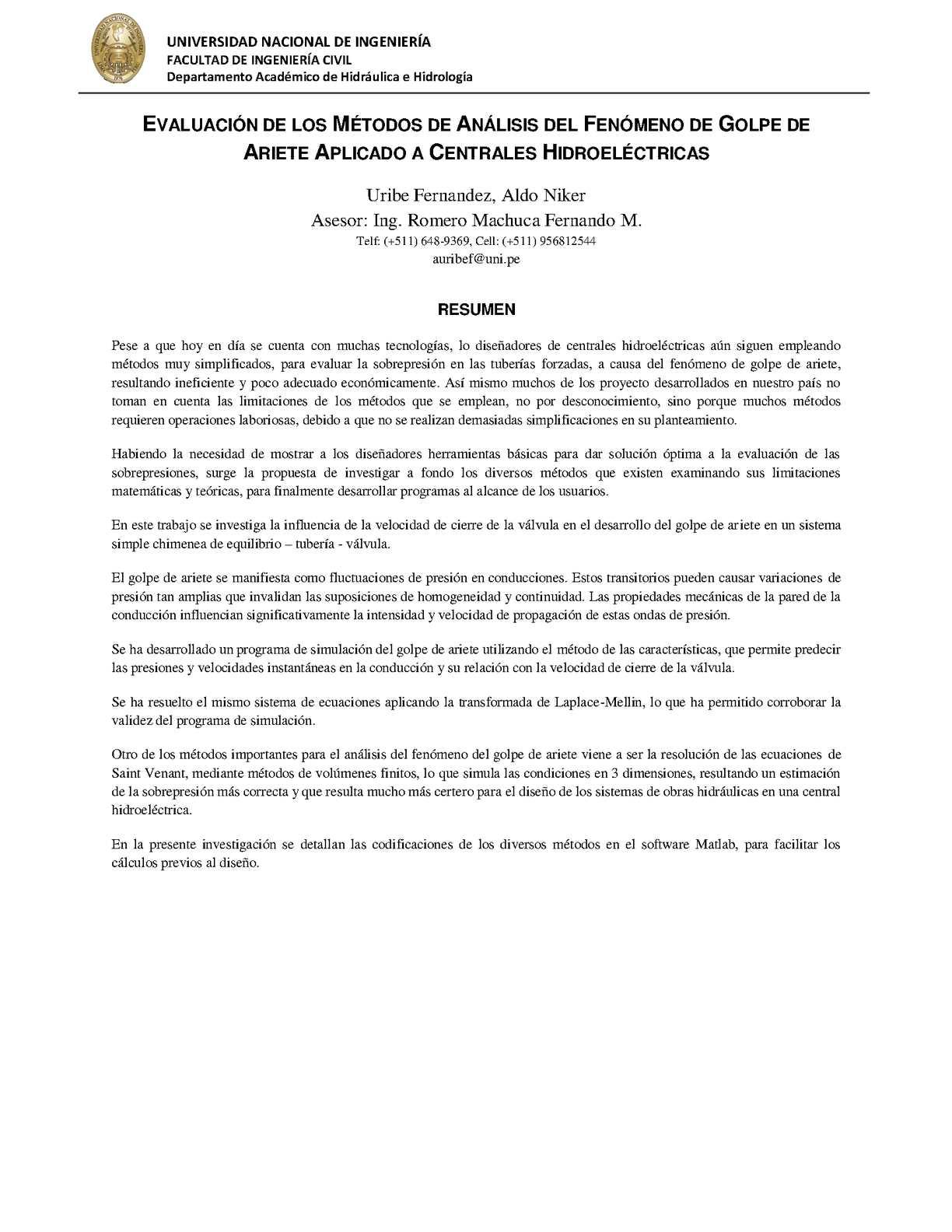Conclusion de hidraulica basica