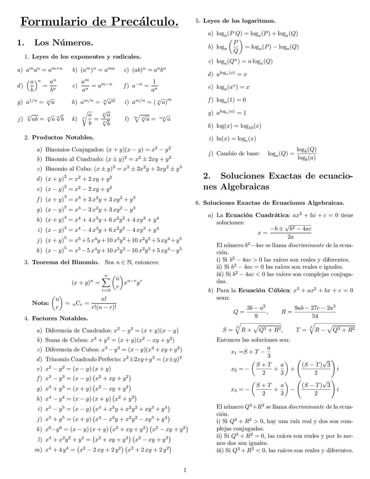Formulario de precálculo y álgebra