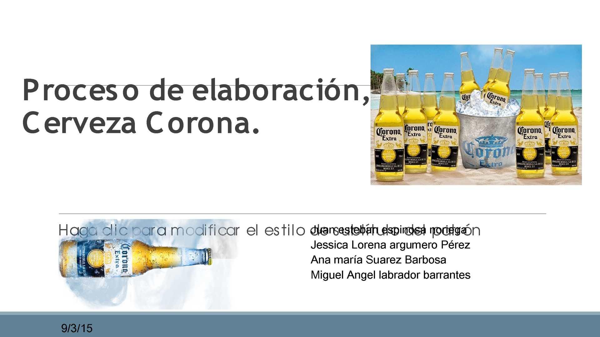Proceso De Elaboración Cerveza Corona