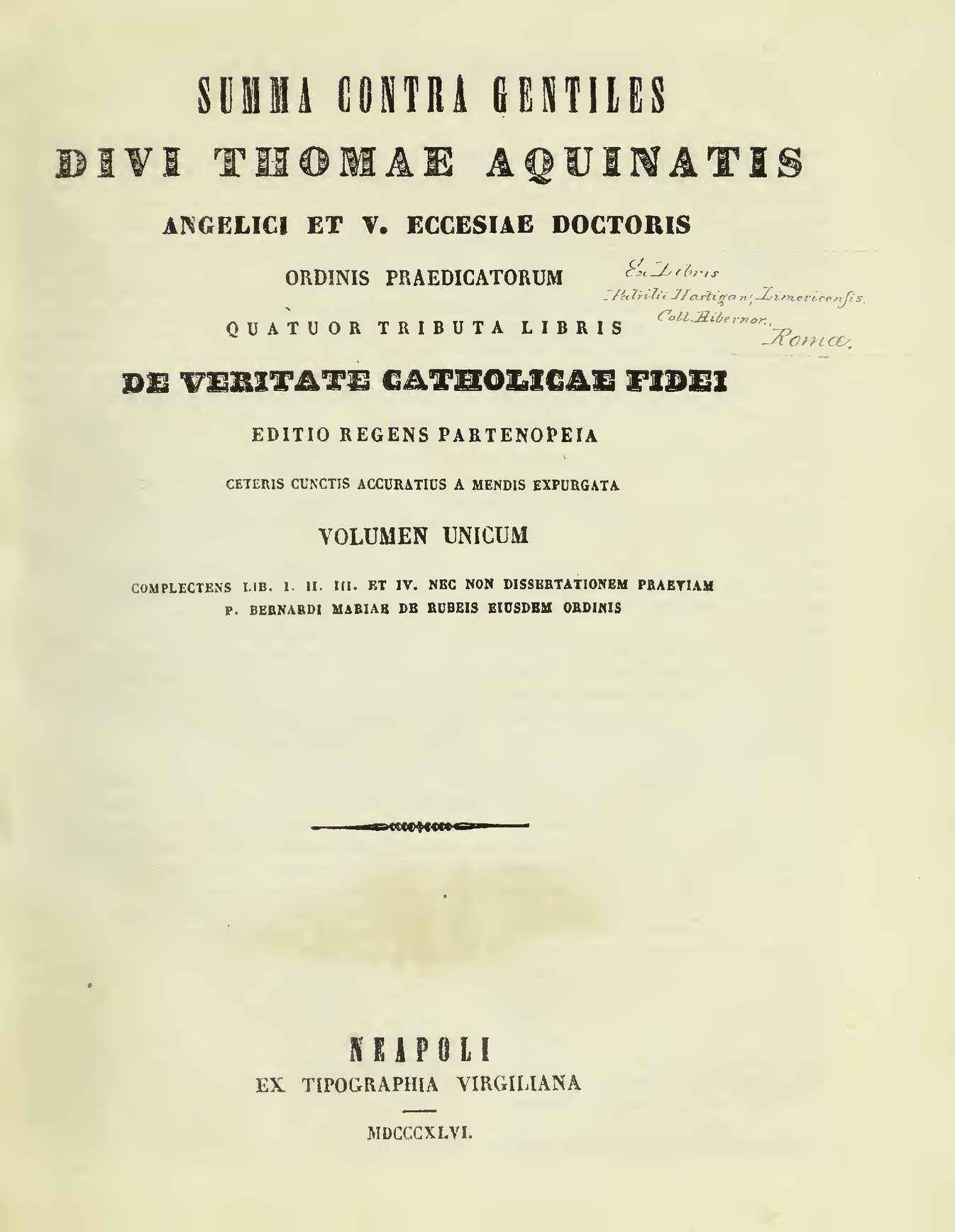 Calaméo Summa proti pohanům 1 – Summa contra gentiles divi Thomae Aquinatis Thomas de Aquino svat½ 1846