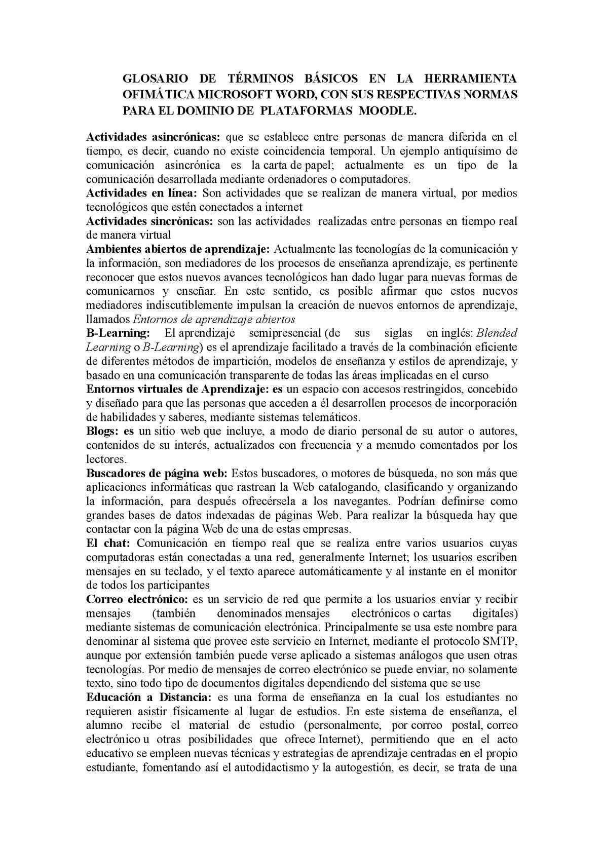 Glosario De Términos Básicos En La Herramienta Ofimática Microsoft Word Cesar Peña