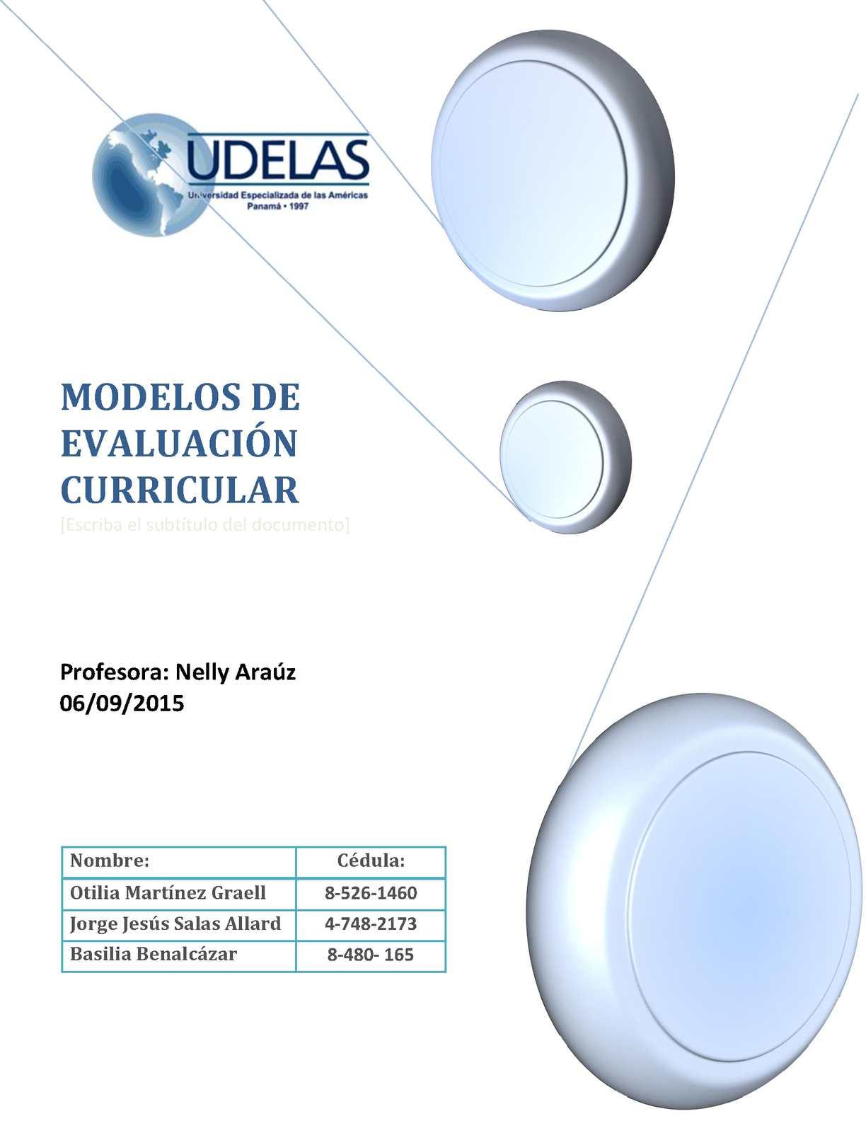 Modelos De Evalucion Curricular