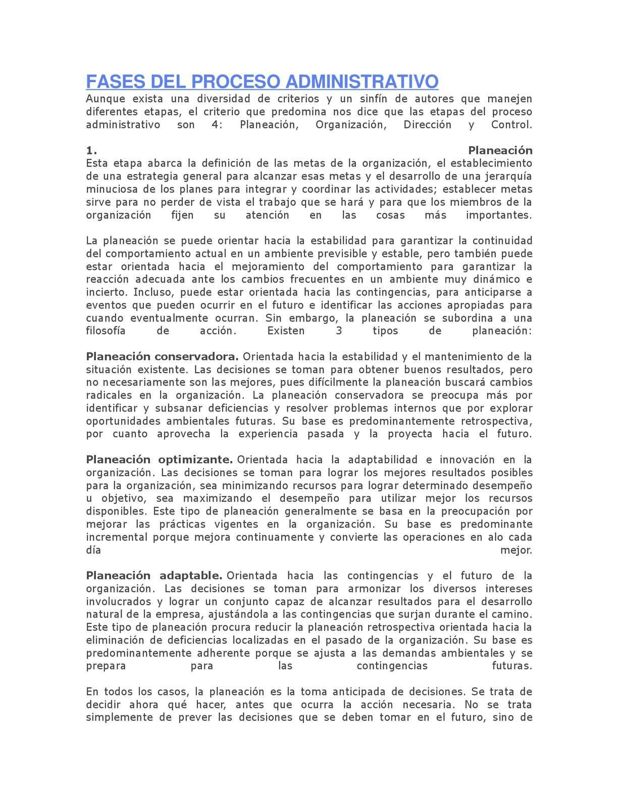 Proceso administrativo definicion de autores