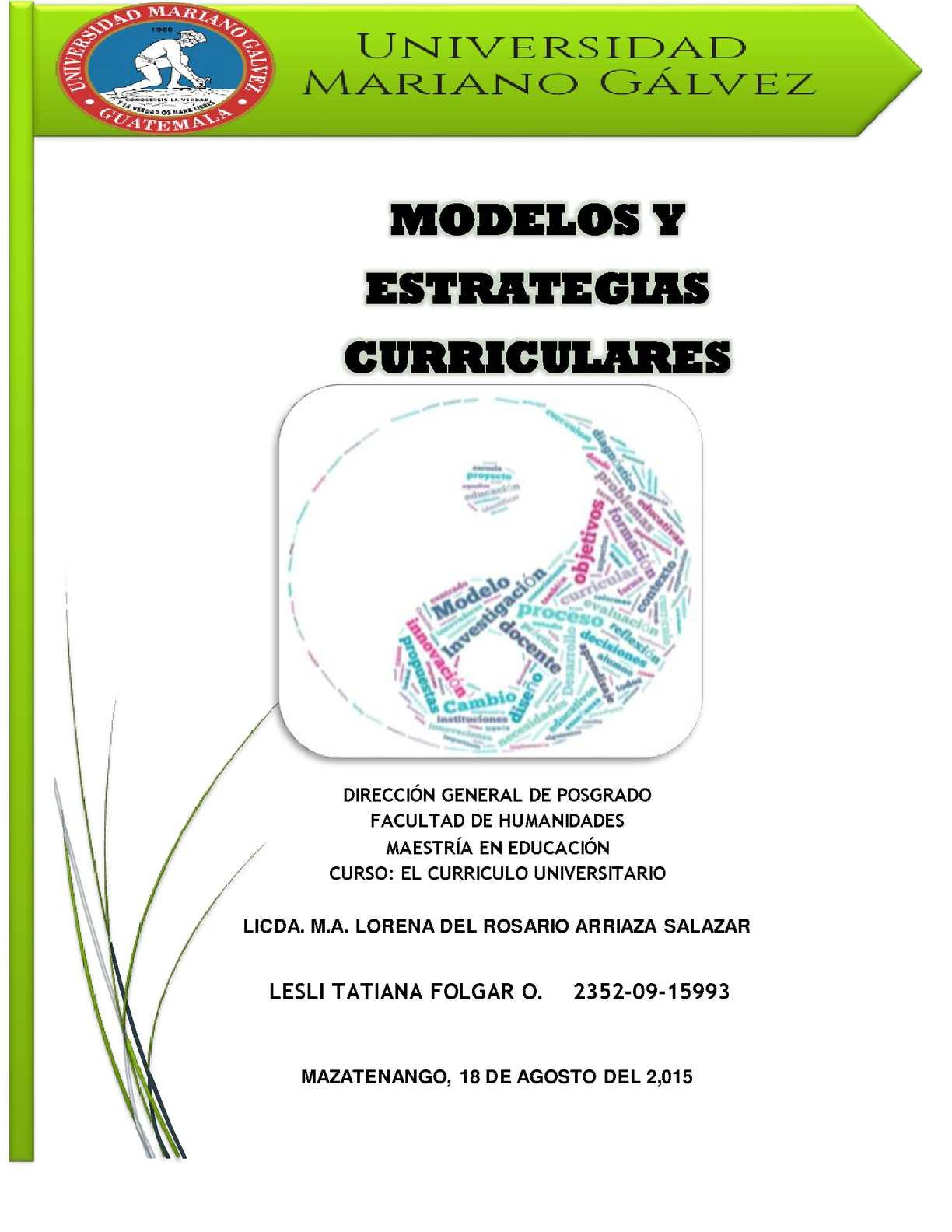 Modelos Y Estrategias Curriculares