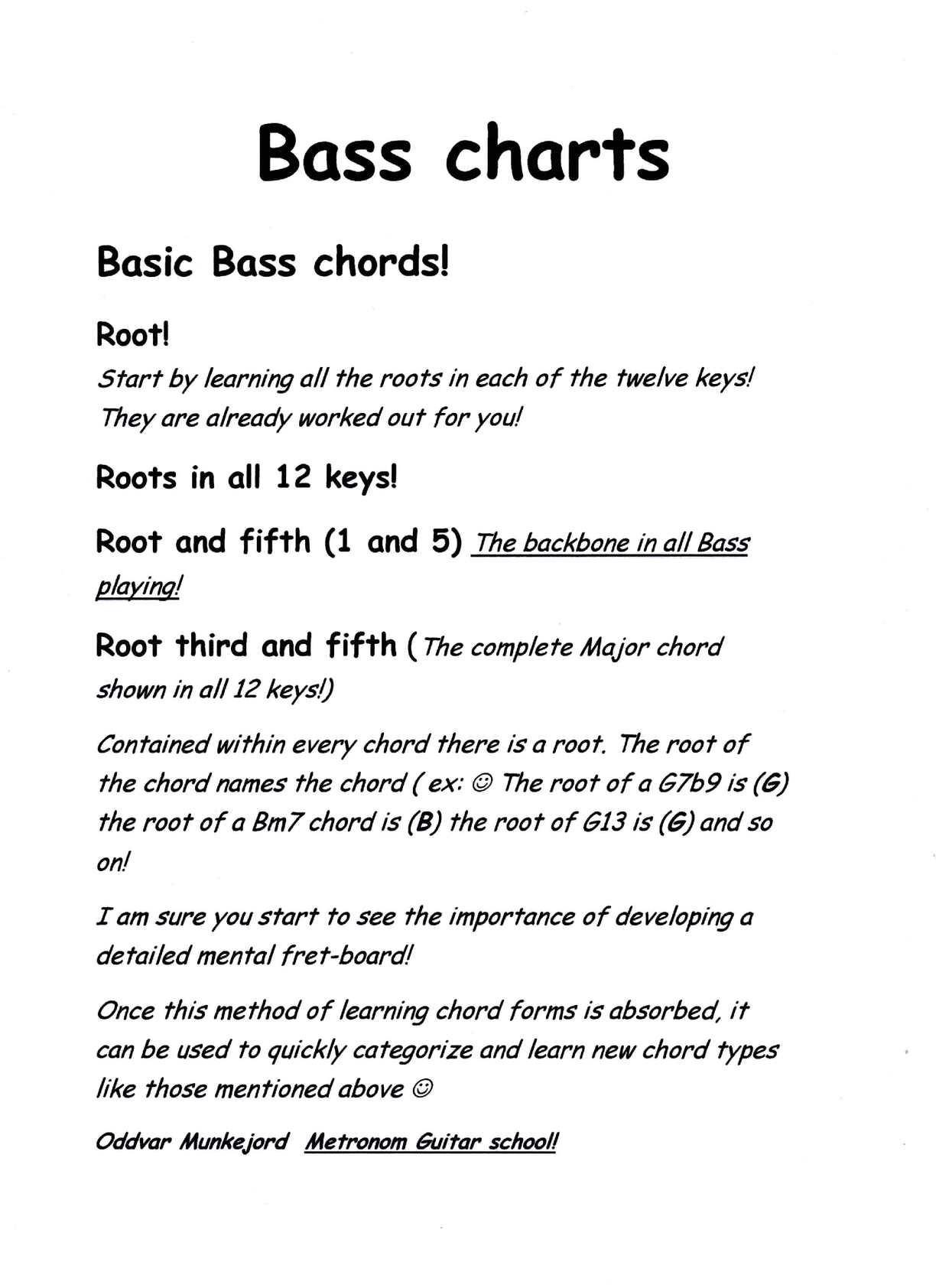 Calamo Various Complete Bass Charts