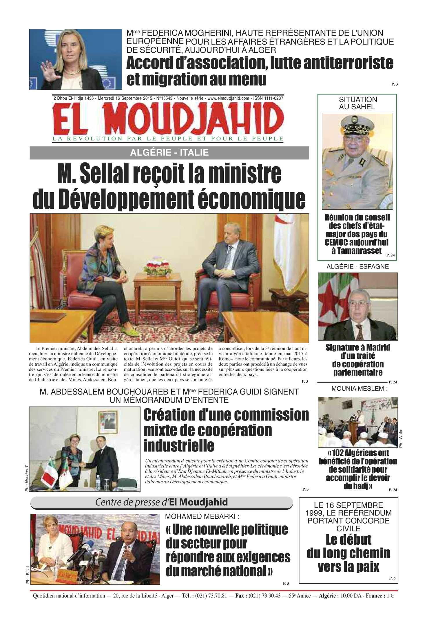 EL MOUDJAHID n°15543