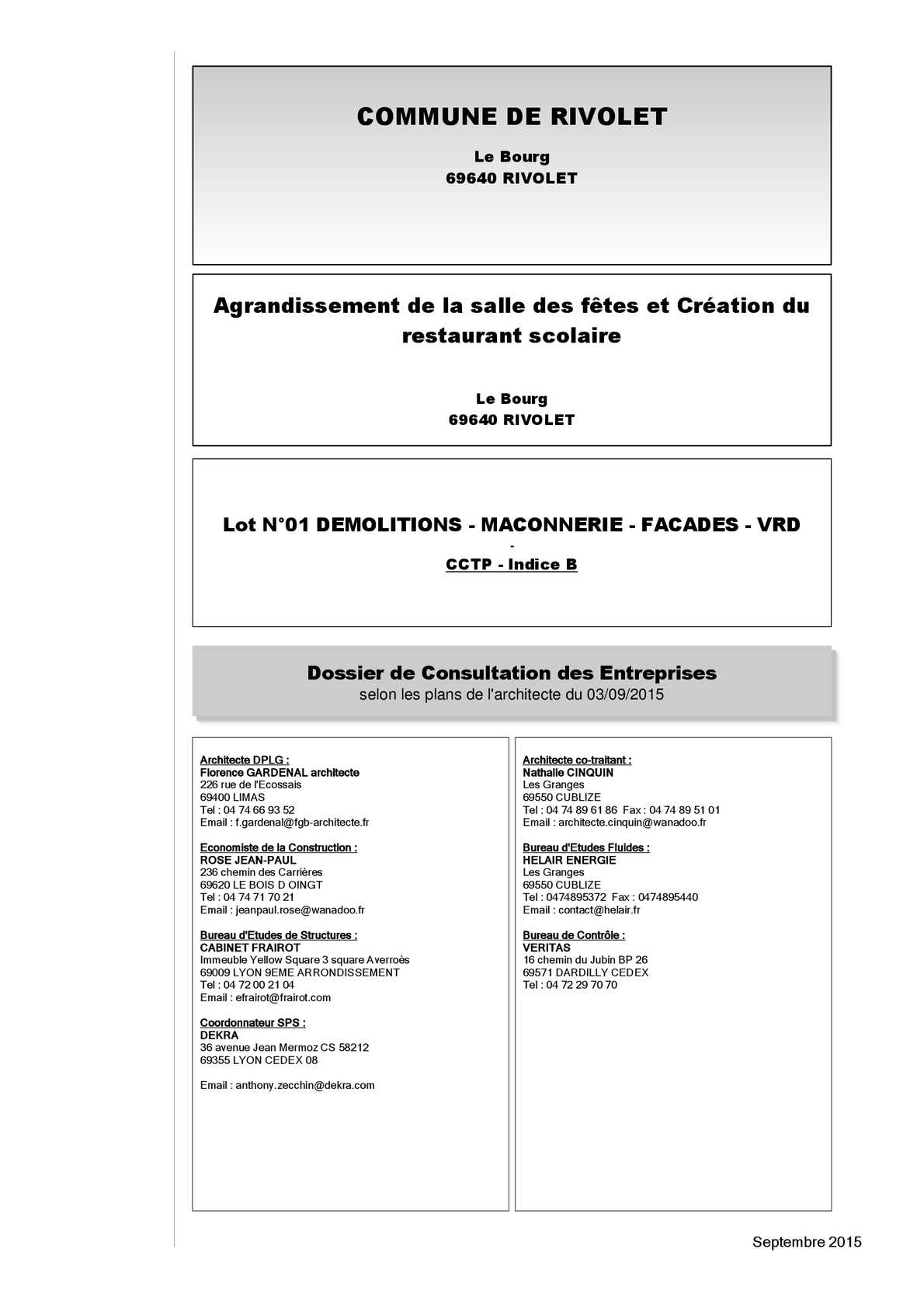 Calam o 0402 dce 01 d molitions ma onnerie fa ades vrd b for Cctp architecte