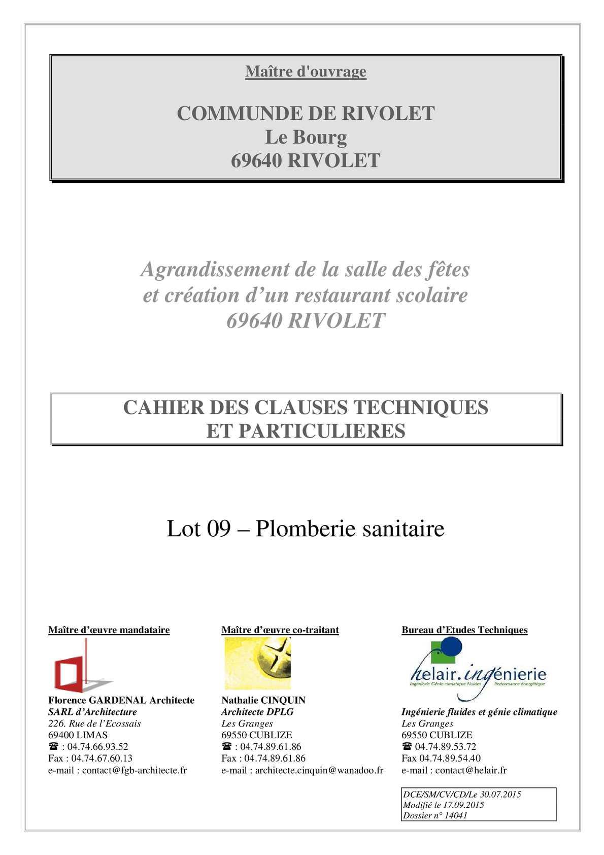 calam o rivolet cctp lot 09 plomberie sanitaire le 30 07