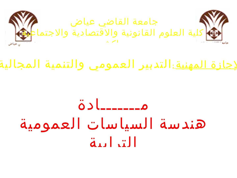 المحور الثاني : هندسة السياسات العمومية الترابية  في ضوء مستجدات دستور 2011