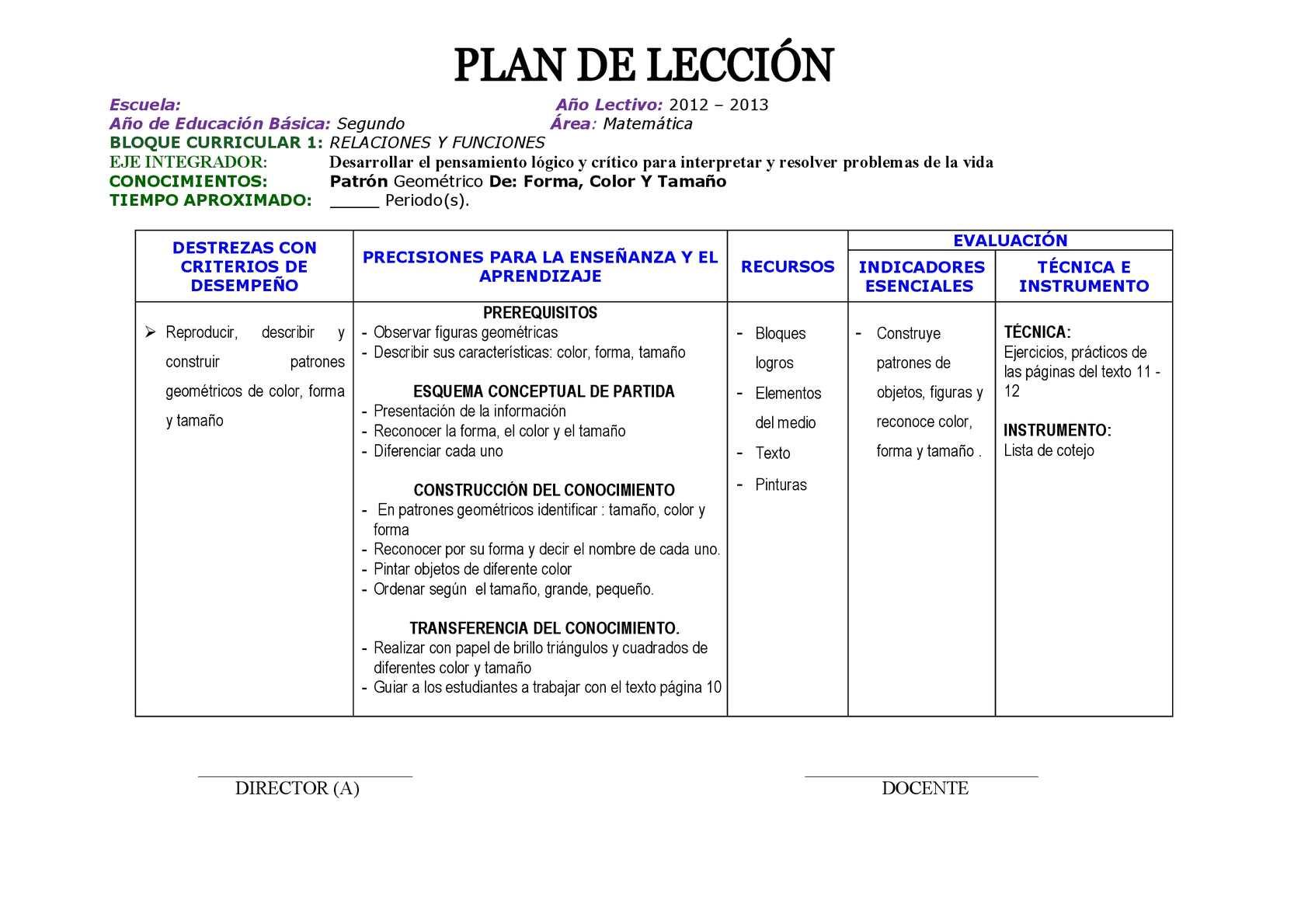 Increíble Plantilla De Plan De Lección Matemática Inspiración ...