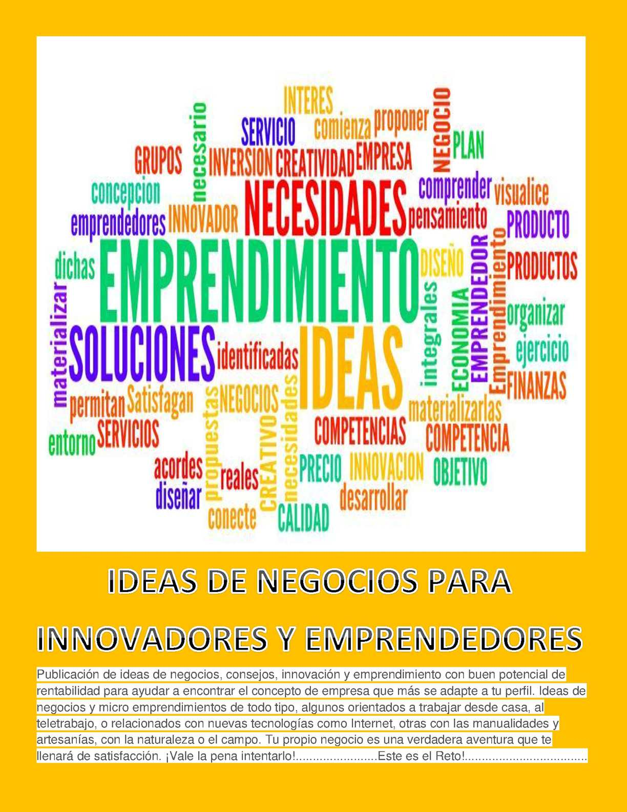 Calaméo - Libro Ideas De Negocios Para Innovadores Y Emprendedores ...