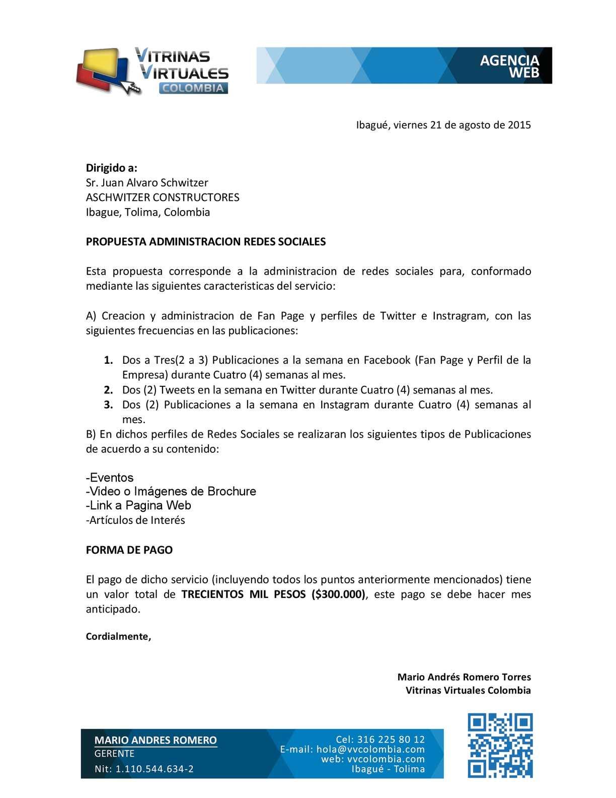 Propuesta Manejo Redes Sociales Para Aschwitzer