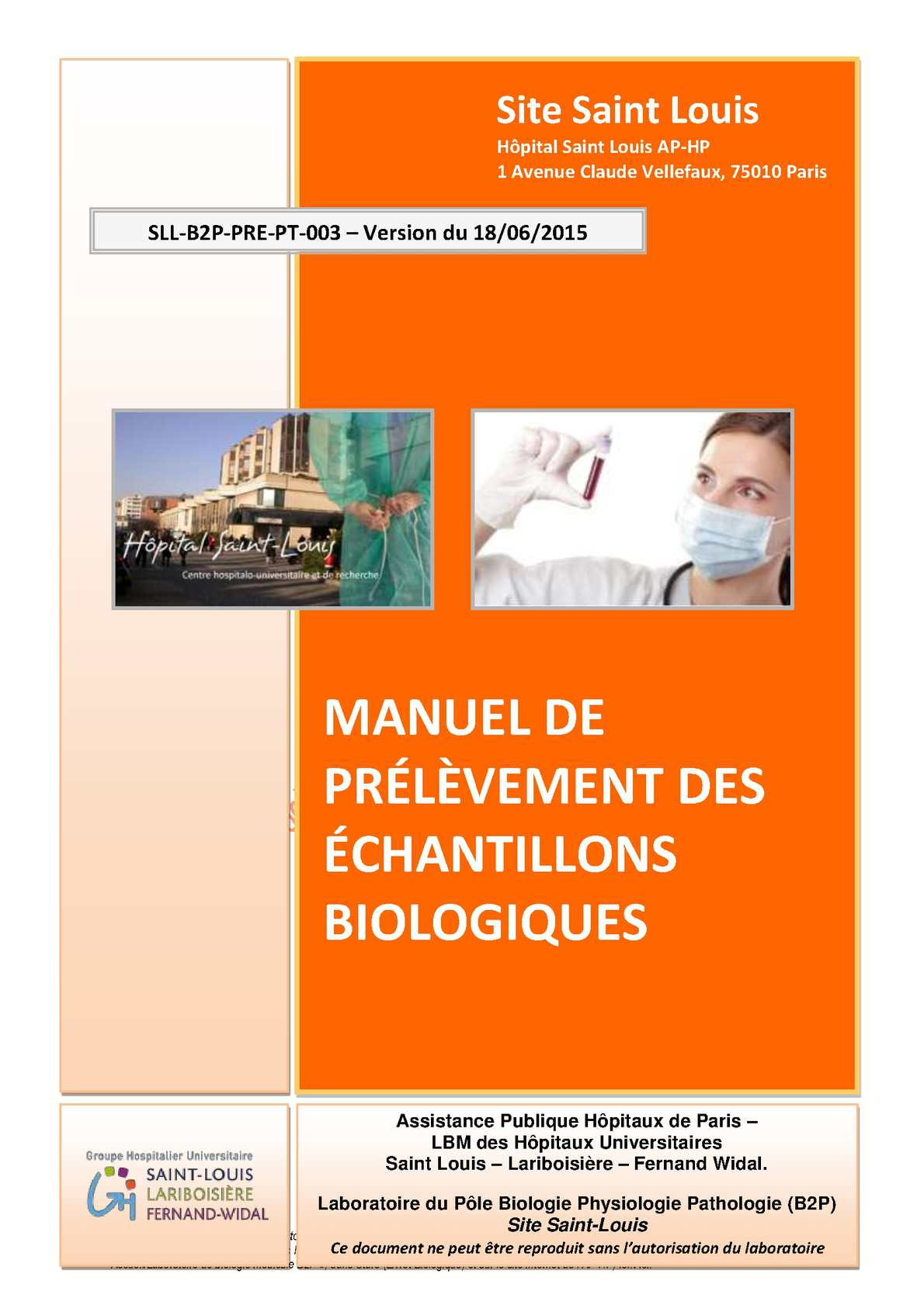 Calam o manuel de pr l vement h pital saint louis - Prelevement sanguin sur chambre implantable ...