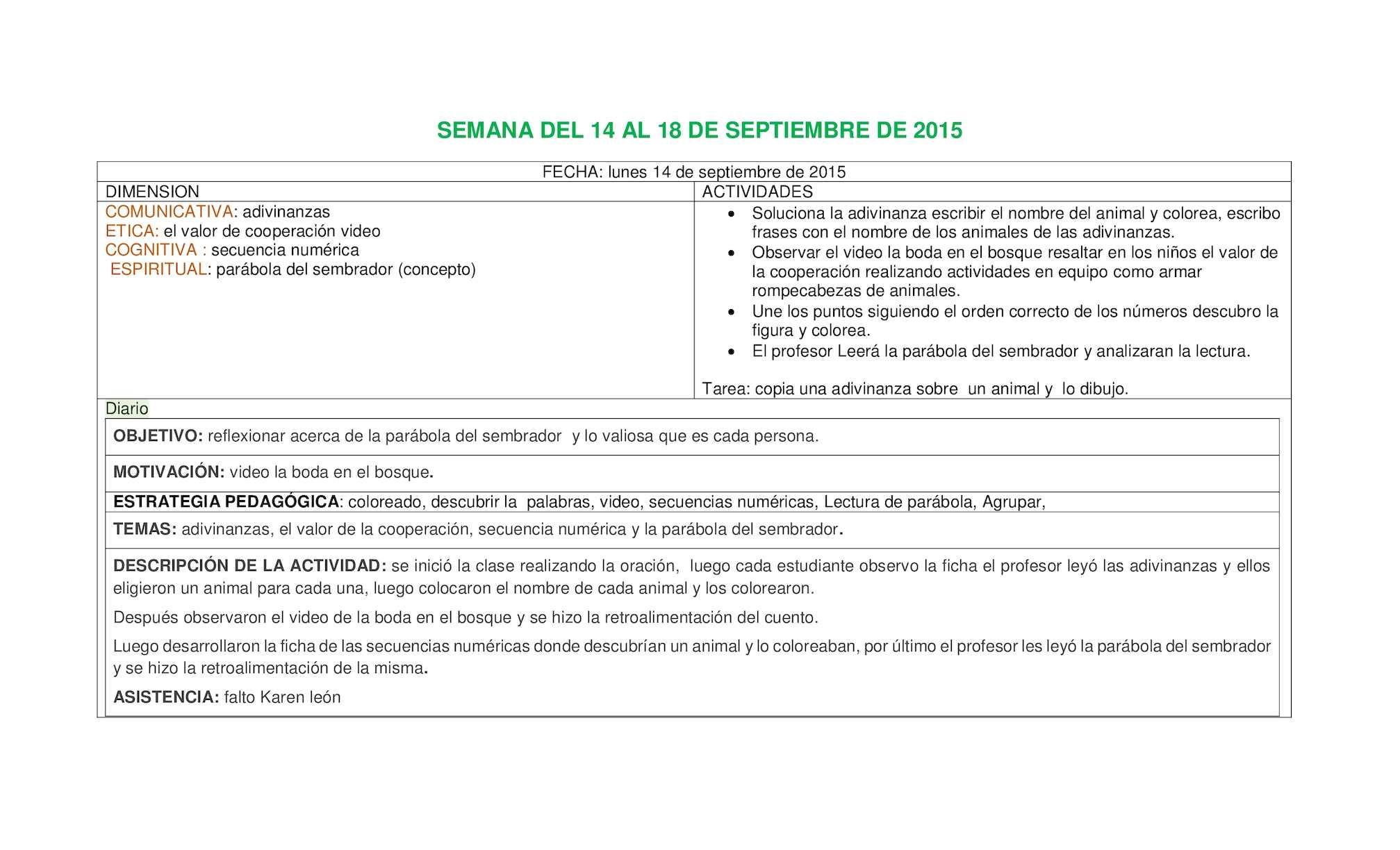 Calaméo - Preparador Semana Del 14 Al 18 De Septiembre De 2015