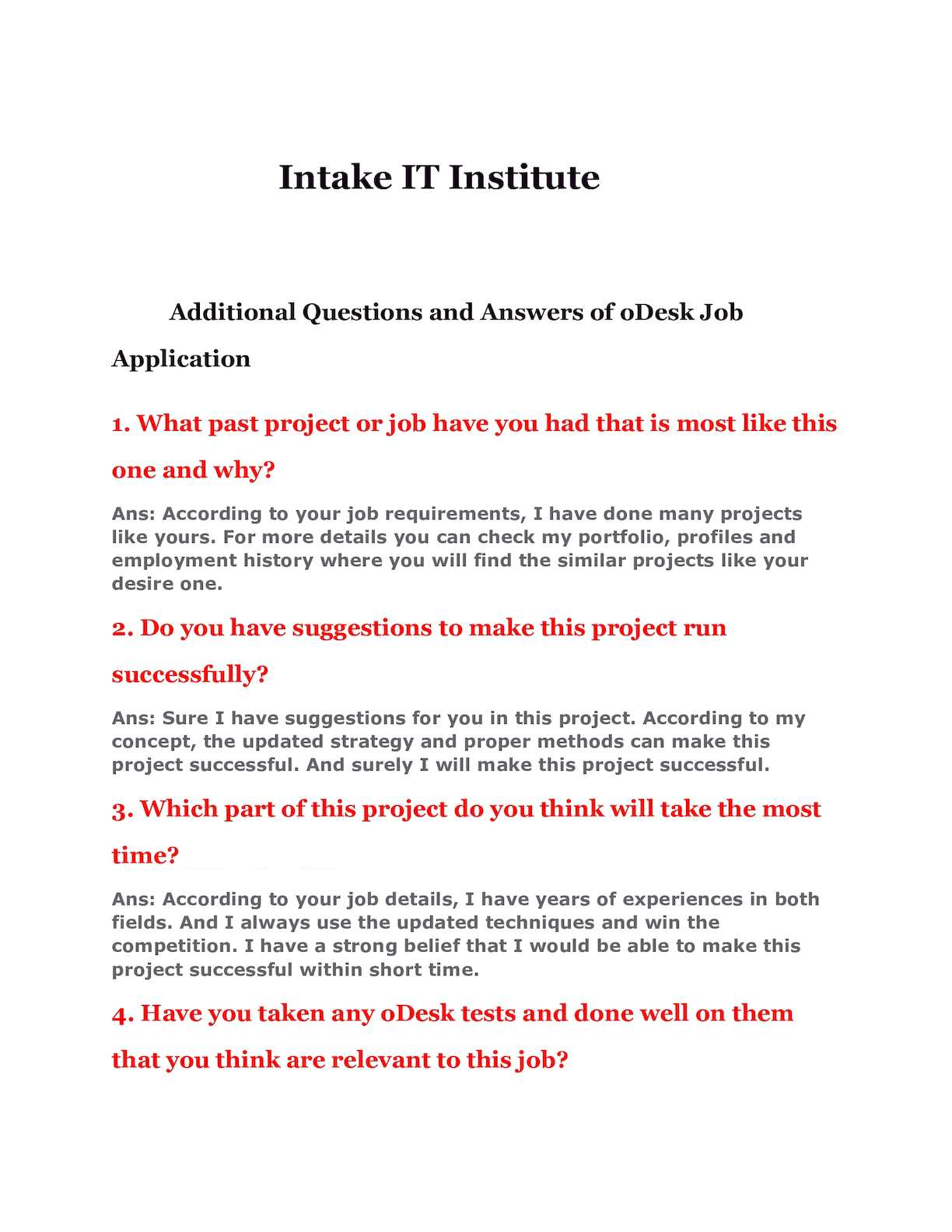 Calameo Additional Questions And Answers Of O Desk Job Application