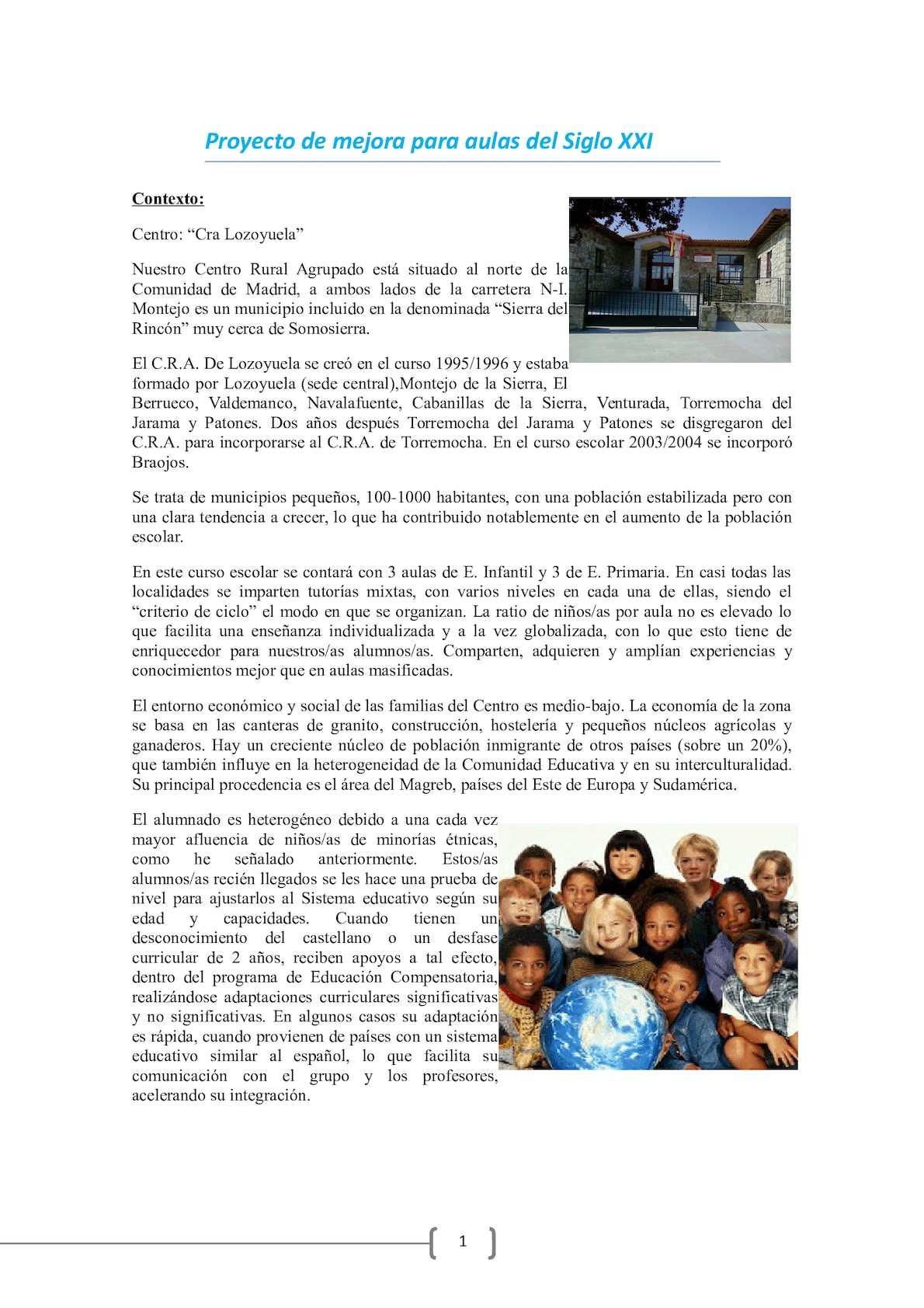 Proyecto De Mejora Para Aulas Del Siglo Xxi