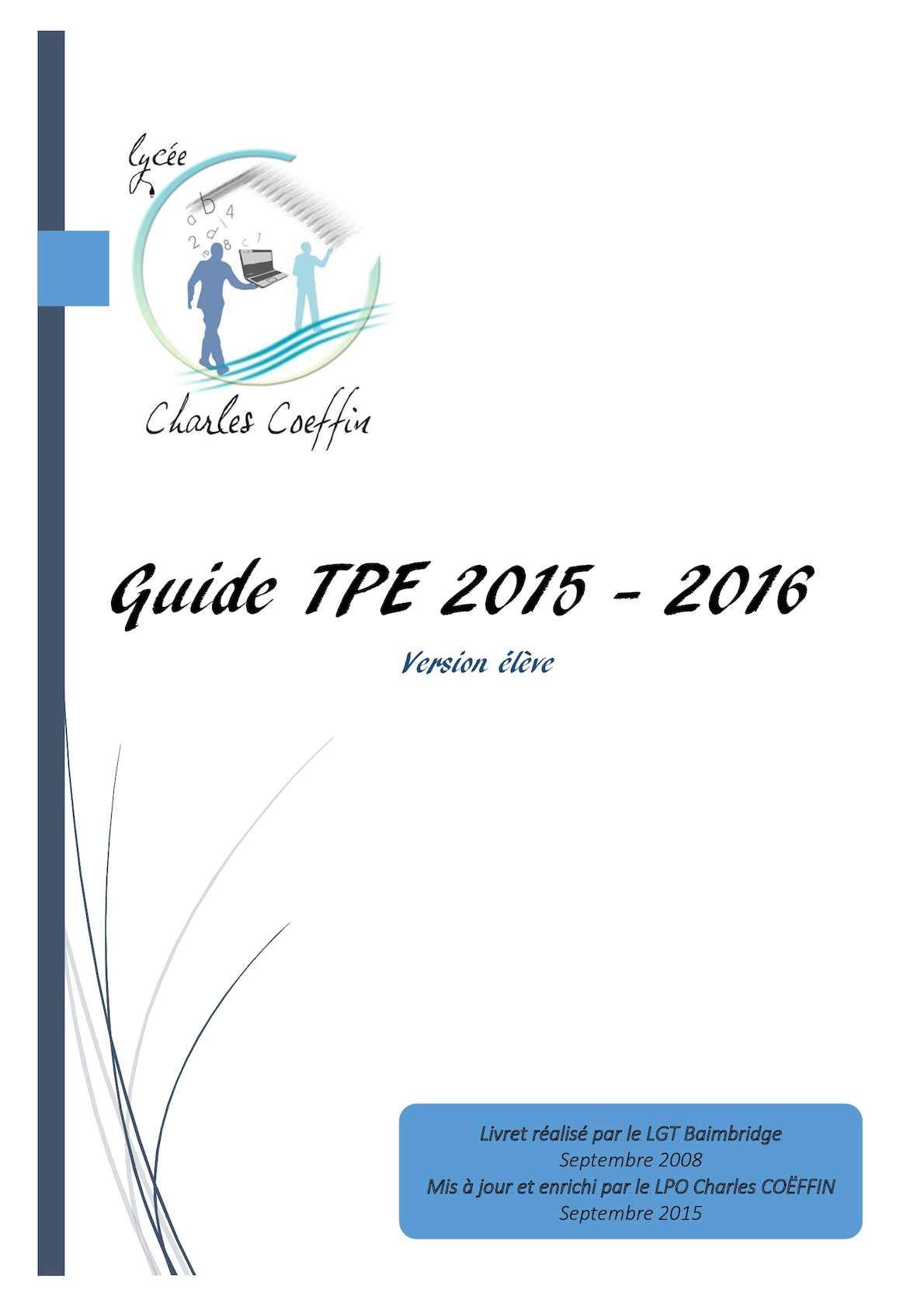 Berühmt Calaméo - Guide TPE ELève 2015 2016 RQ22